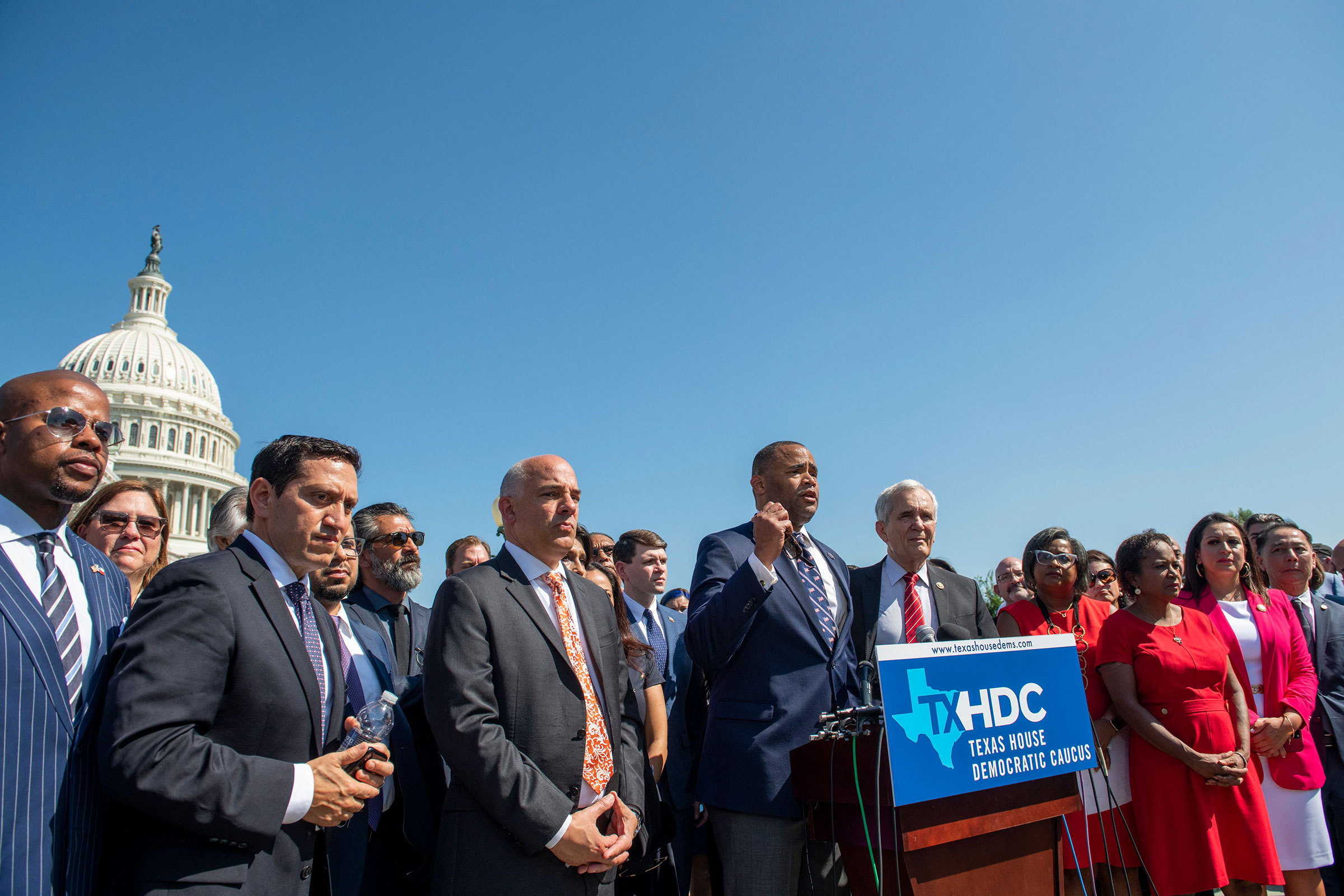 Congressmen Rep. Marc Veasey speaks alongside Texas state House Democrats during a news conference on voting rights outside the Capitol in Washington on July 13, 2021.