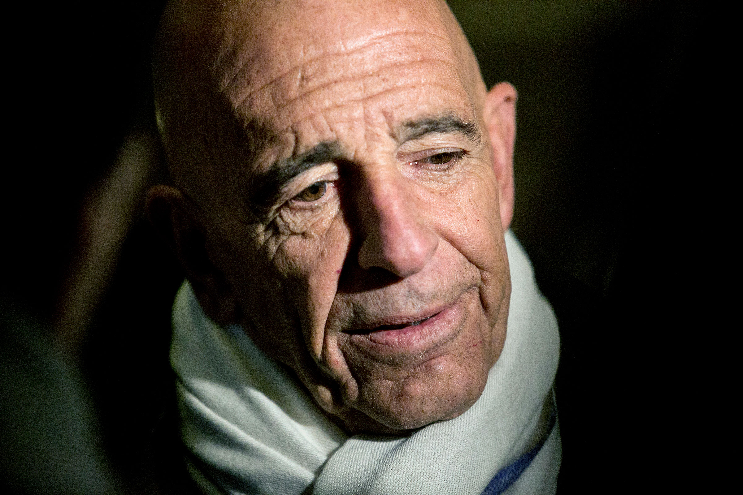 Thomas Barrack, then-chairman of President Donald Trump's inaugural committee, talks to reporters in the lobby of Trump Tower in New York on Jan. 10, 2017.