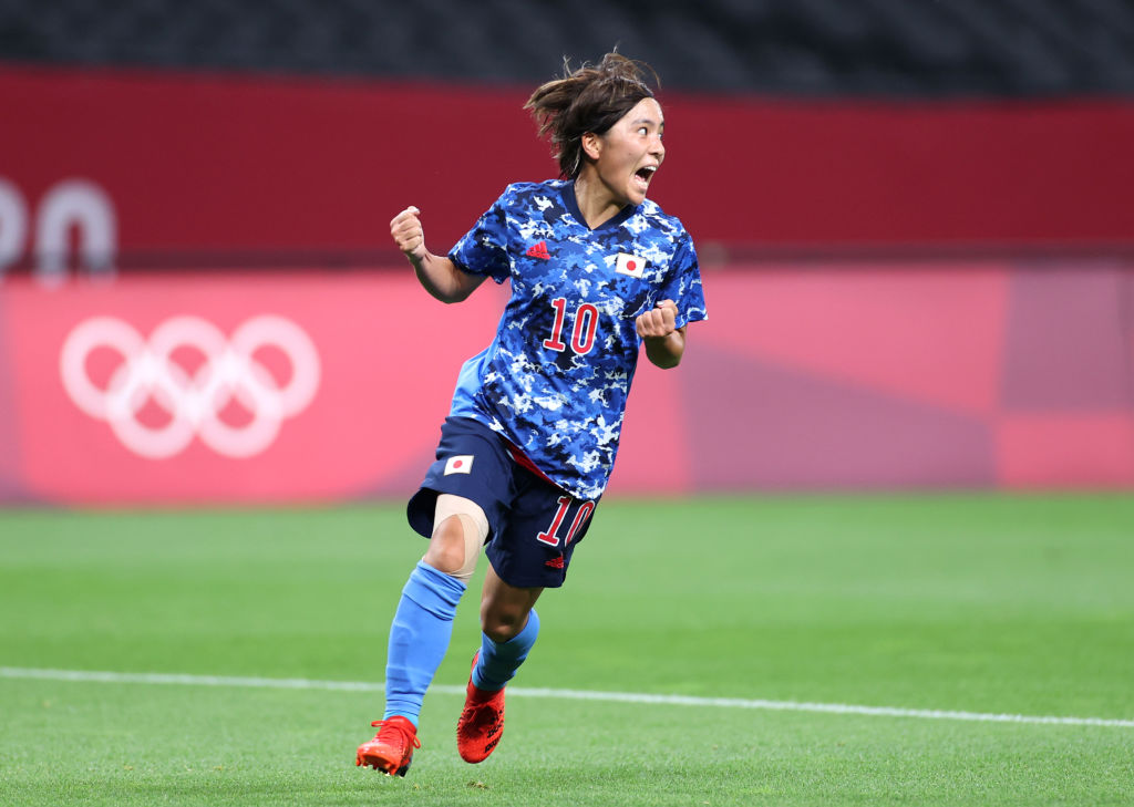 Mana Iwabuchi of Team Japan celebrates after scoring her squad's first goal during the Women's First Round Group E match between Japan and Canada during the Tokyo 2020 Olympic Games at Sapporo Dome on July 21, 2021 in Sapporo, Hokkaido, Japan.