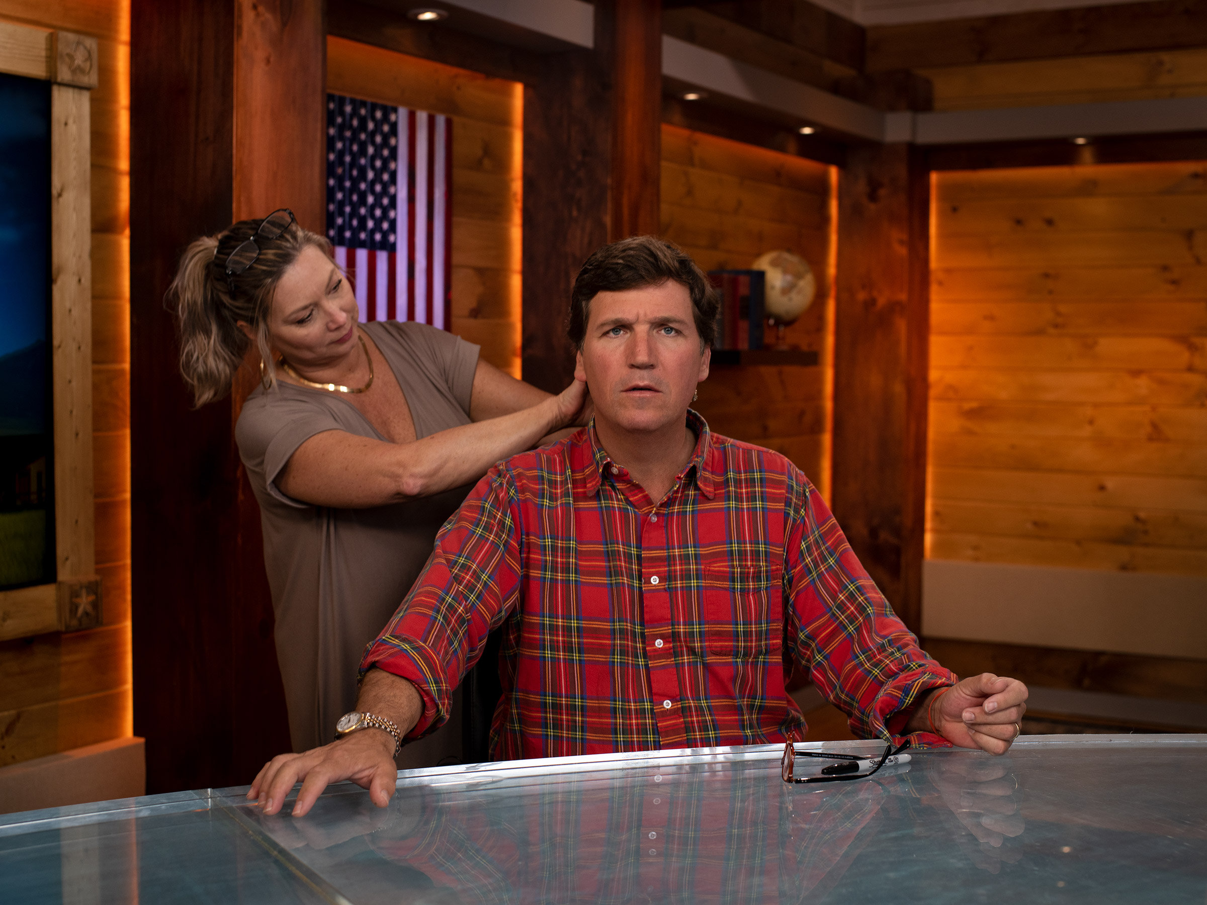 On the set of his daytime show, Tucker Carlson Today, which launched in May