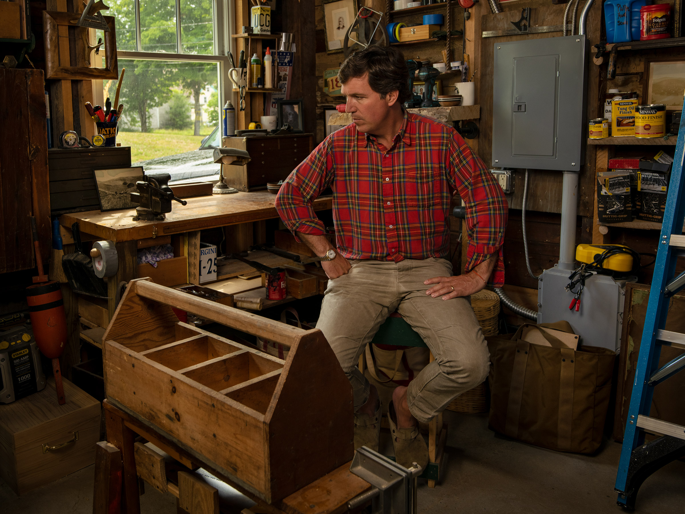 Carlson in his wood shop attached to his studio.