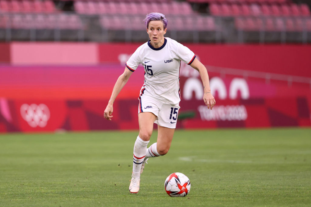 Megan Rapinoe, #15 of the U.S. Women's National Team, in action during the Women's Football Group G match against Australia on day four of the Tokyo 2020 Olympic Games at Kashima Stadium on July 27, 2021 in Kashima, Ibaraki, Japan.
