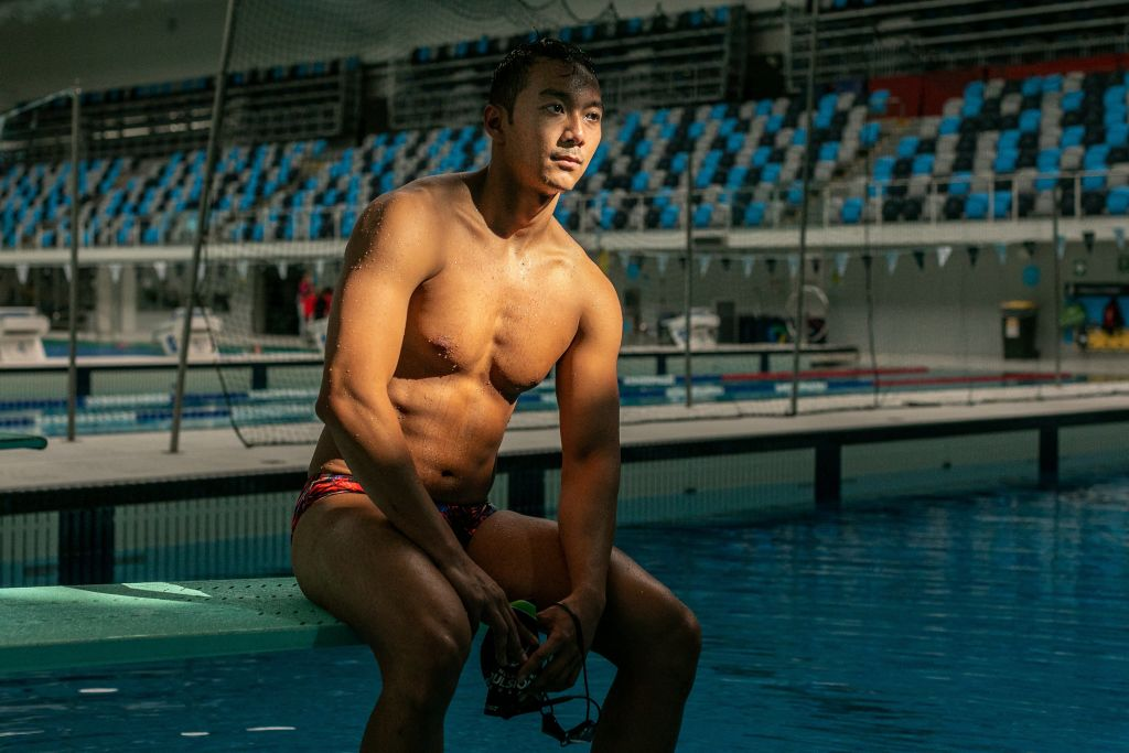 In this photo taken on April 29, 2021, Myanmar swimmer Win Htet Oo attends a training session at the Melbourne Aquatic Centre in Melbourne. Win Htet Oo is sacrificing his dream of competing in the Tokyo Olympics to protest at the junta ruling his homeland, saying that taking part would be  propaganda  for the regime.