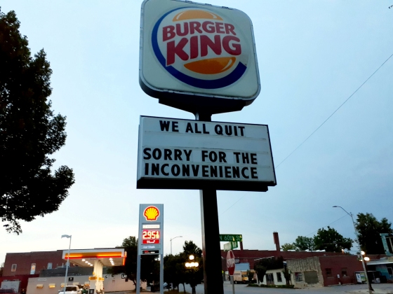 Disgruntled staff at a Burger King announced their resignations by writing 'WE ALL QUIT' on the sign outside the restaurant - which has now gone viral. See SWNS story SWOCsign. General manager Rachael Flores, 25, and her team were sick of poor working conditions and mistreatment from upper management so decided to leave. Last Saturday (10/07), the day before her she finished her notice period, Rachael changed the sign outside the restaurant in Lincoln, Nebraska, to read 'WE ALL QUIT' and 'SORRY FOR THE INCONVENIENCE'. She ended up being fired that day as a result, but for her it was so worth it.