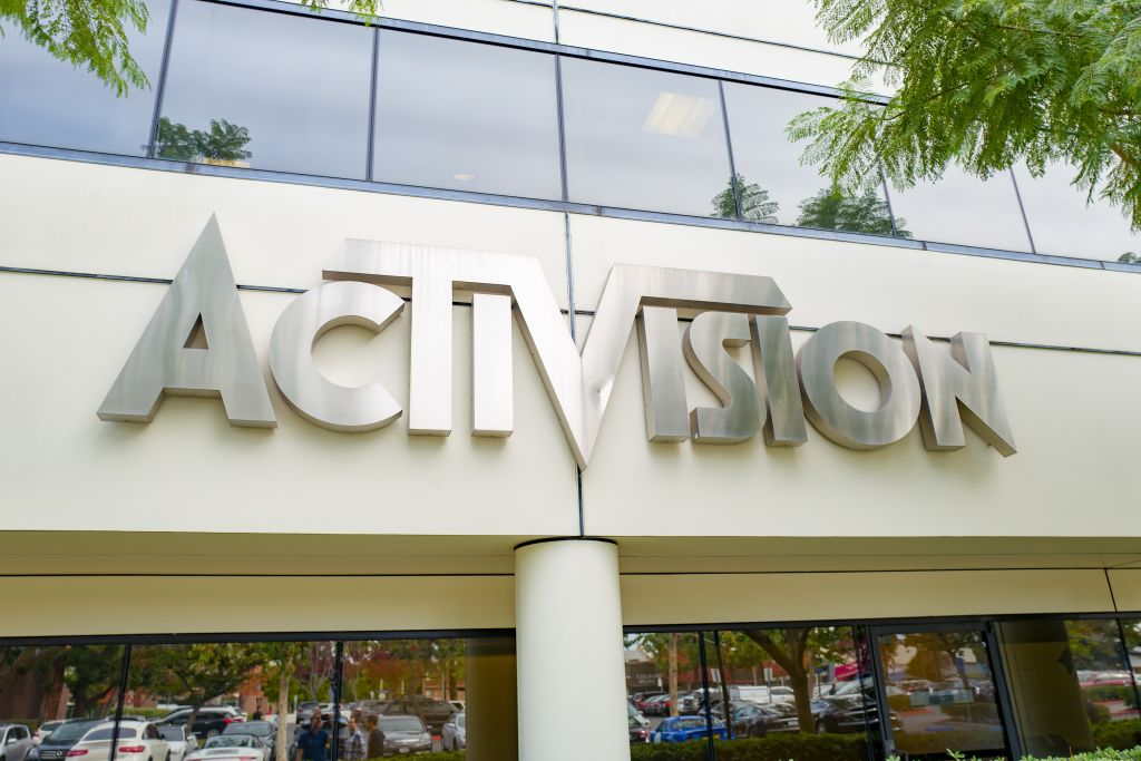 Sign on facade of office of video game publisher Activision in the Silicon Beach area of Los Angeles, California, December 10, 2018.