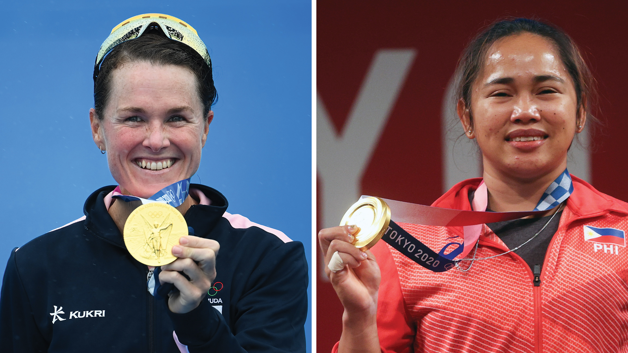 Flora Duffy of Team Bermuda with her gold medal (left) and Hidilyn Diaz of Team Philippines posing with the gold medal.