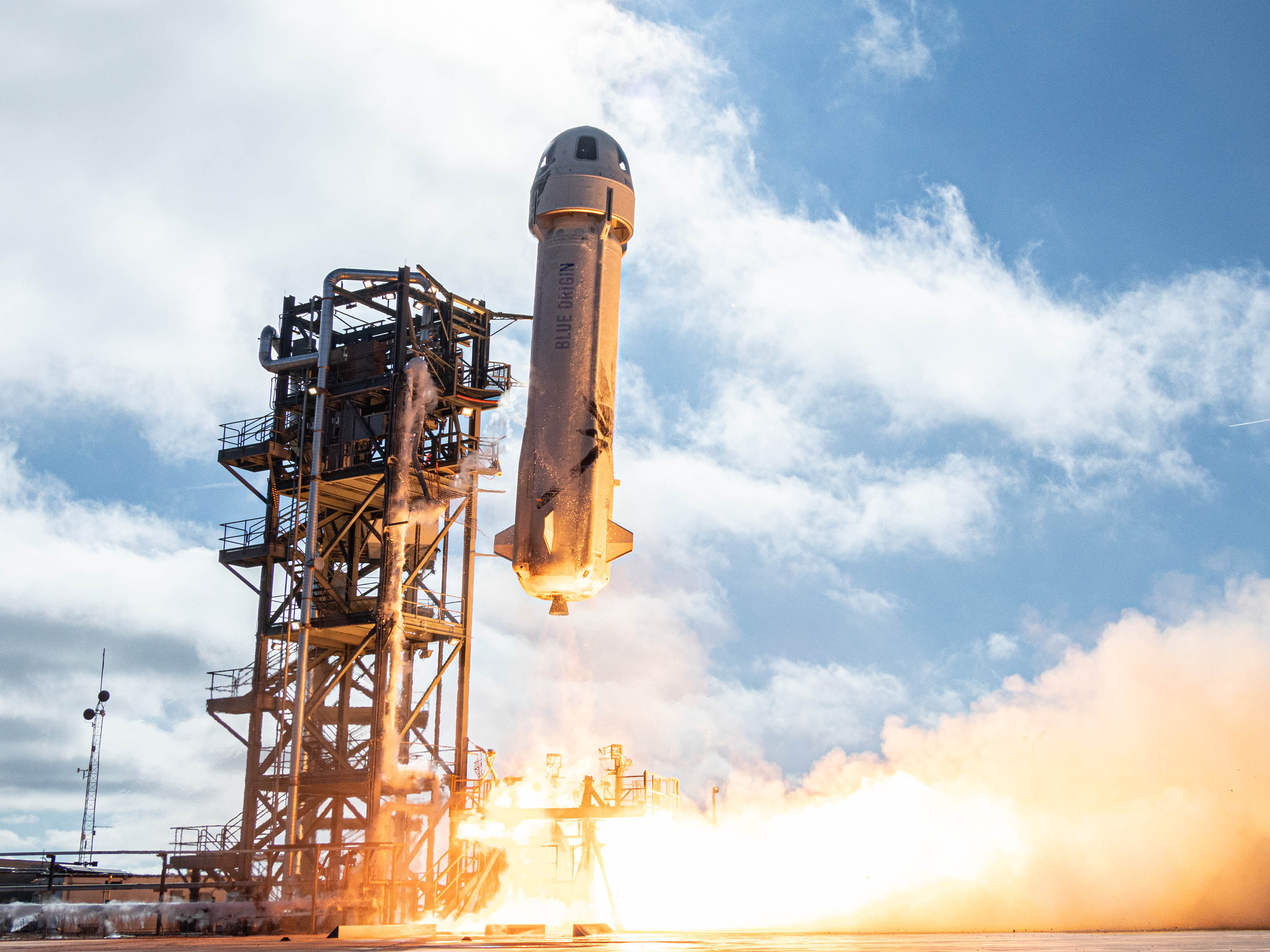 New Shepard lifts off on its 12th mission on December 11, 2019.