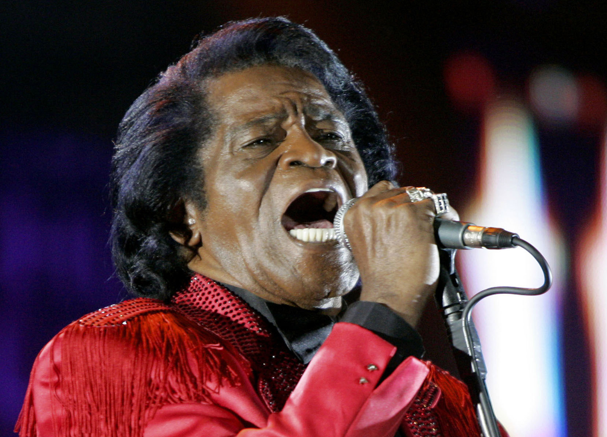 In this file photo, James Brown performs on stage during the Live 8 concert at Murrayfield Stadium in Edinburgh, Scotland on July 6, 2005.