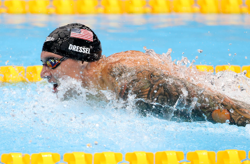 Caeleb Dressel of USA during the 100m Butterfly semifinal on day seven of the swimming competition of the Tokyo 2020 Olympic Games at Tokyo Aquatics Centre on July 30, 2021 in Tokyo, Japan.