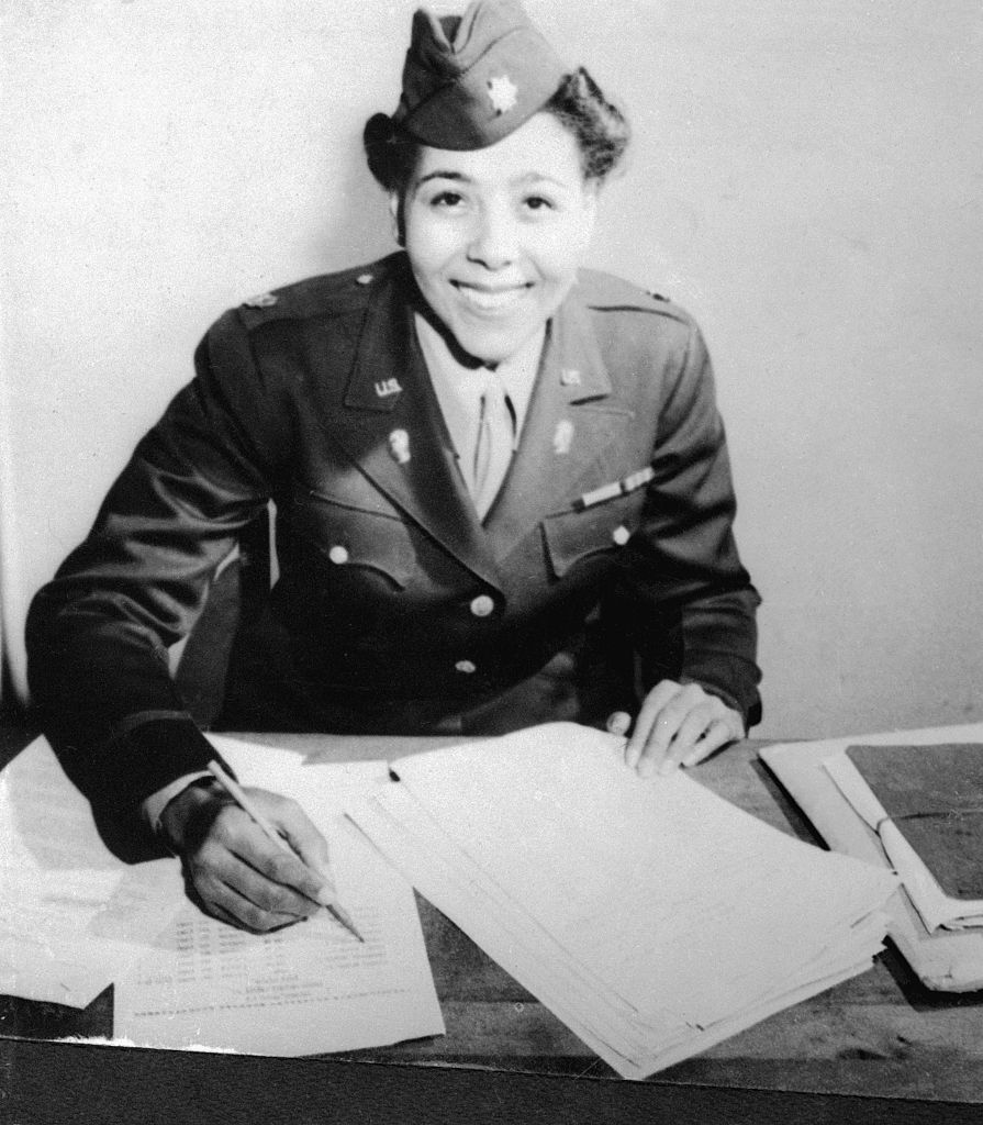 Maj. Charity Adams, commanding officer of the WAC Postal Battalion serving in England