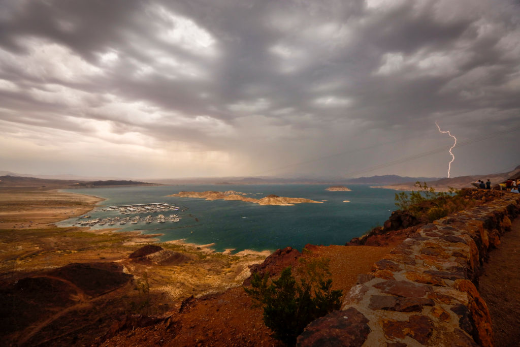Lighting strikes over Lake Mead as a storm rolls through the area Tuesday, June 29, 2021.