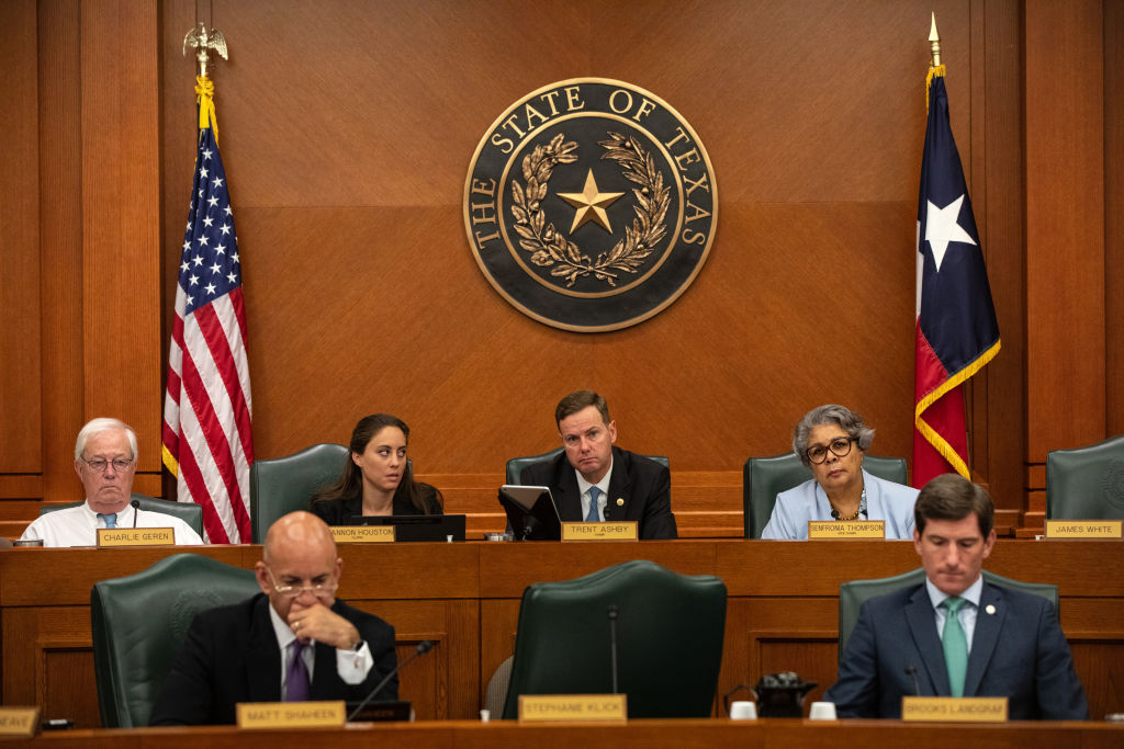 Members of the House Select Committee on Constitutional Rights and Remedies are gathered for hearings on bail reform and election integrity bills at the Texas State Capitol on July 10, 2021 in Austin, Texas. Lawmakers are using a special session of the 87th Legislature to work through a list of priorities set by Republican Gov. Greg Abbott which include overhauling the states voting laws, bail reform, border security, social media censorship, and critical race theory.