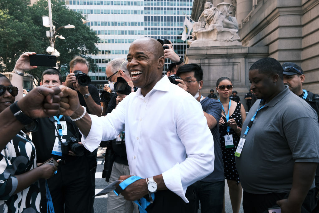 New York City Democratic mayoral nominee Eric Adams joins hundreds of police, fire, hospital and other first responder workers in a ticker-tape parade along the Canyon of Heroes to honor the essential workers who helped navigate New York through Covid-19