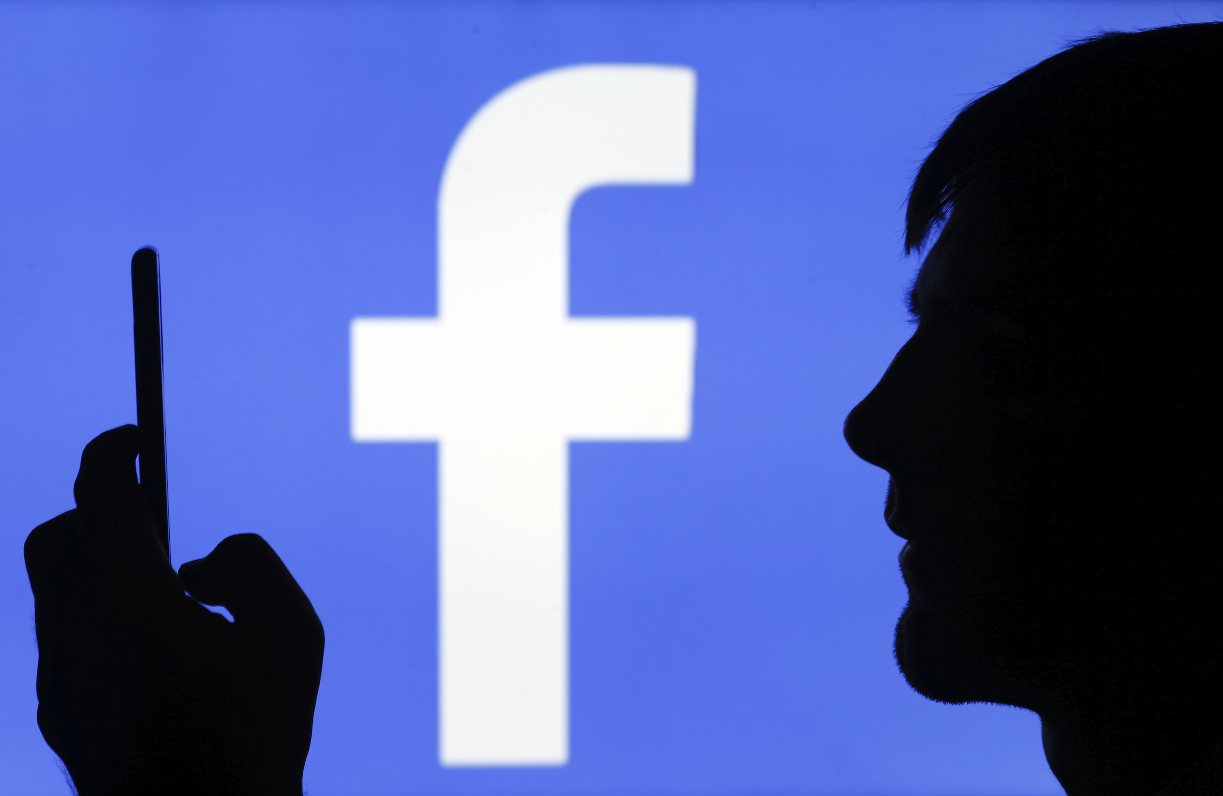 In this photo illustration, the Facebook logo is displayed on a TV screen on September 09, 2019 in Paris, France.