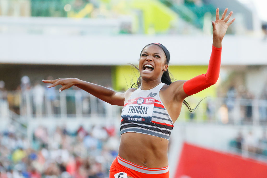 Gabby Thomas celebrates after crossing the finish line to win the Women's 200-m Final on day nine of the 2020 U.S. Olympic Track & Field Team Trials at Hayward Field on June 26, 2021 in Eugene, Oregon.