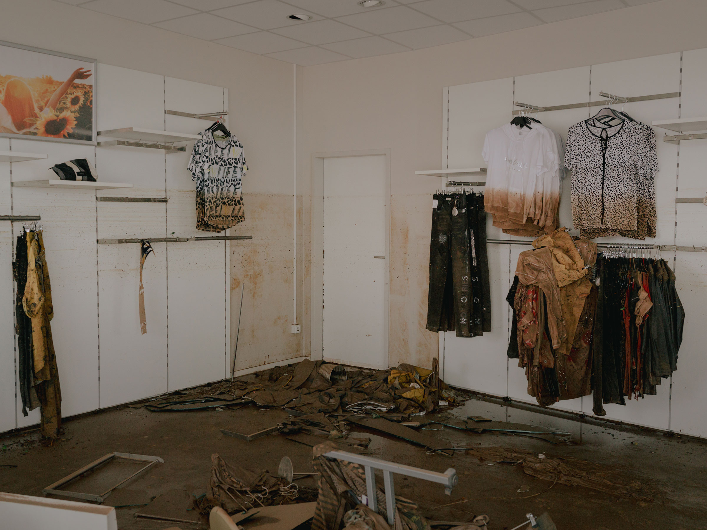 A damaged clothing store in the aftermath of the floods in the city center of Euskirchen, Germany, on July 16.