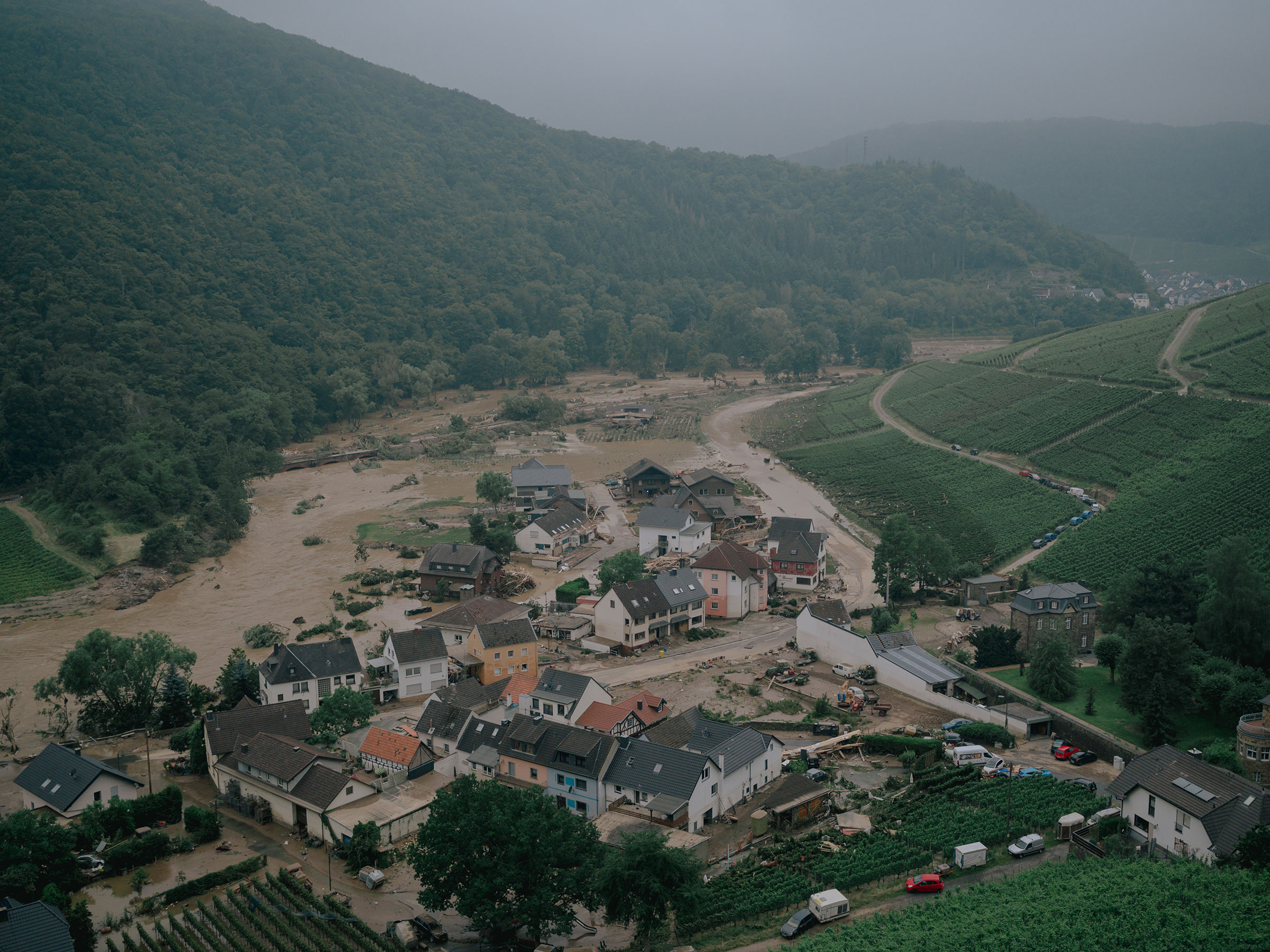 A view of the flood-damaged village of Dernau from a hillside on July 15.