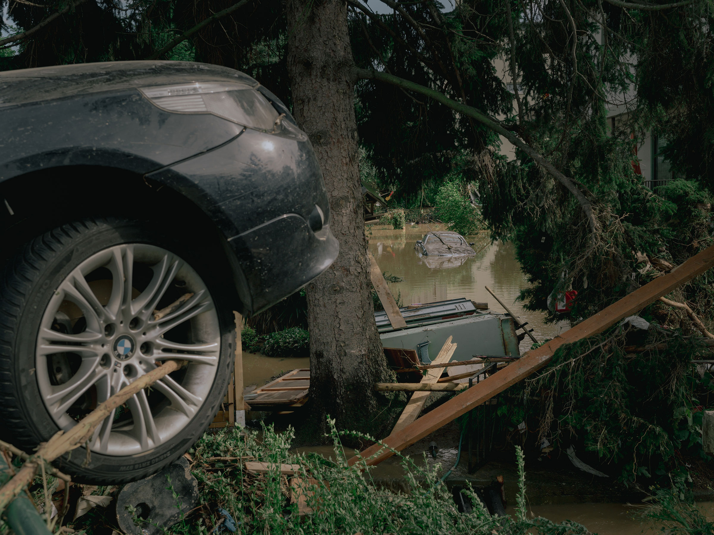 Cars and flood damage in the village of Ahrweiler, Germany, on July 15.