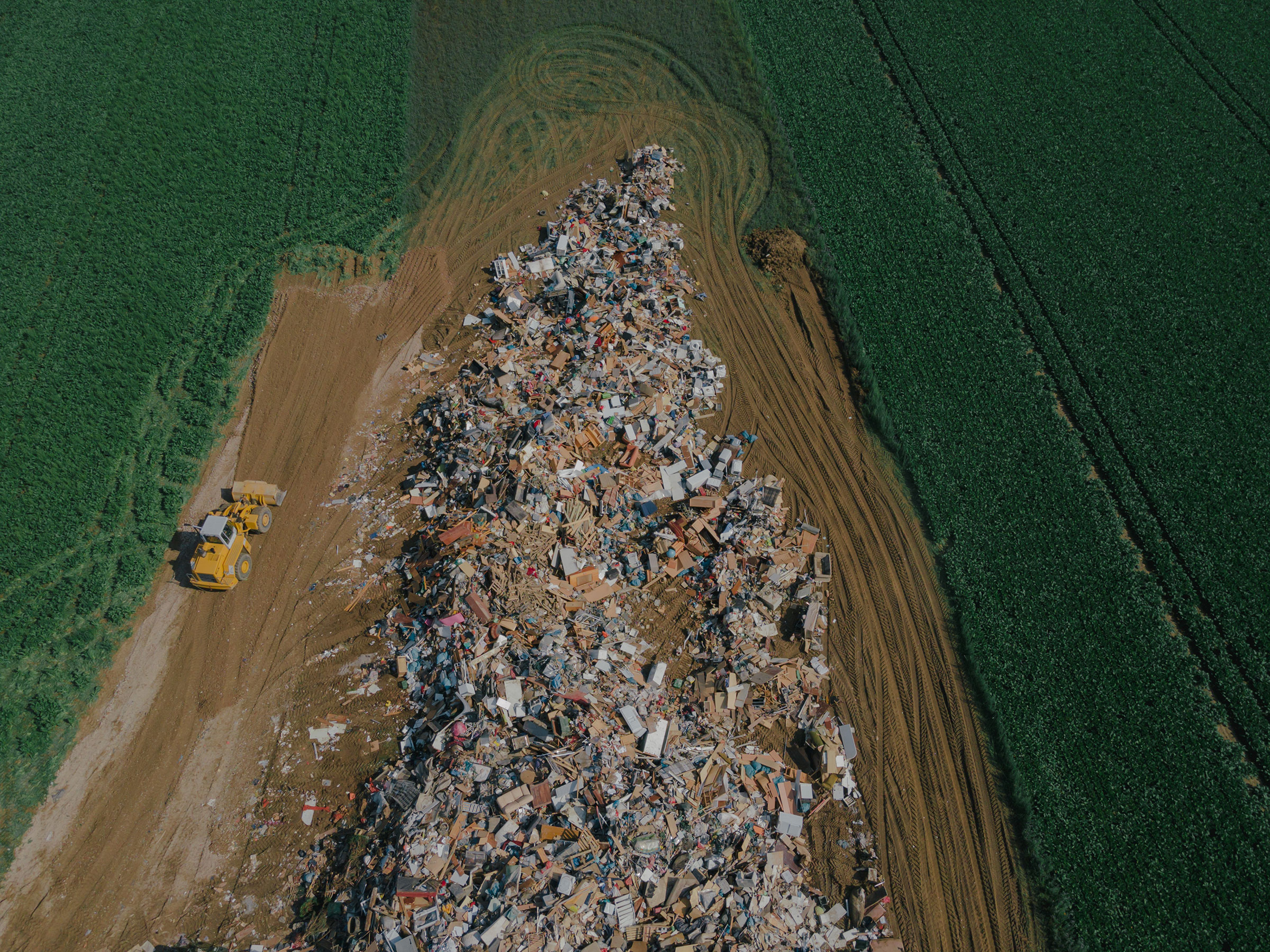 A temporary collection site for flood debris in Rheinbach, Germany, on July 17.