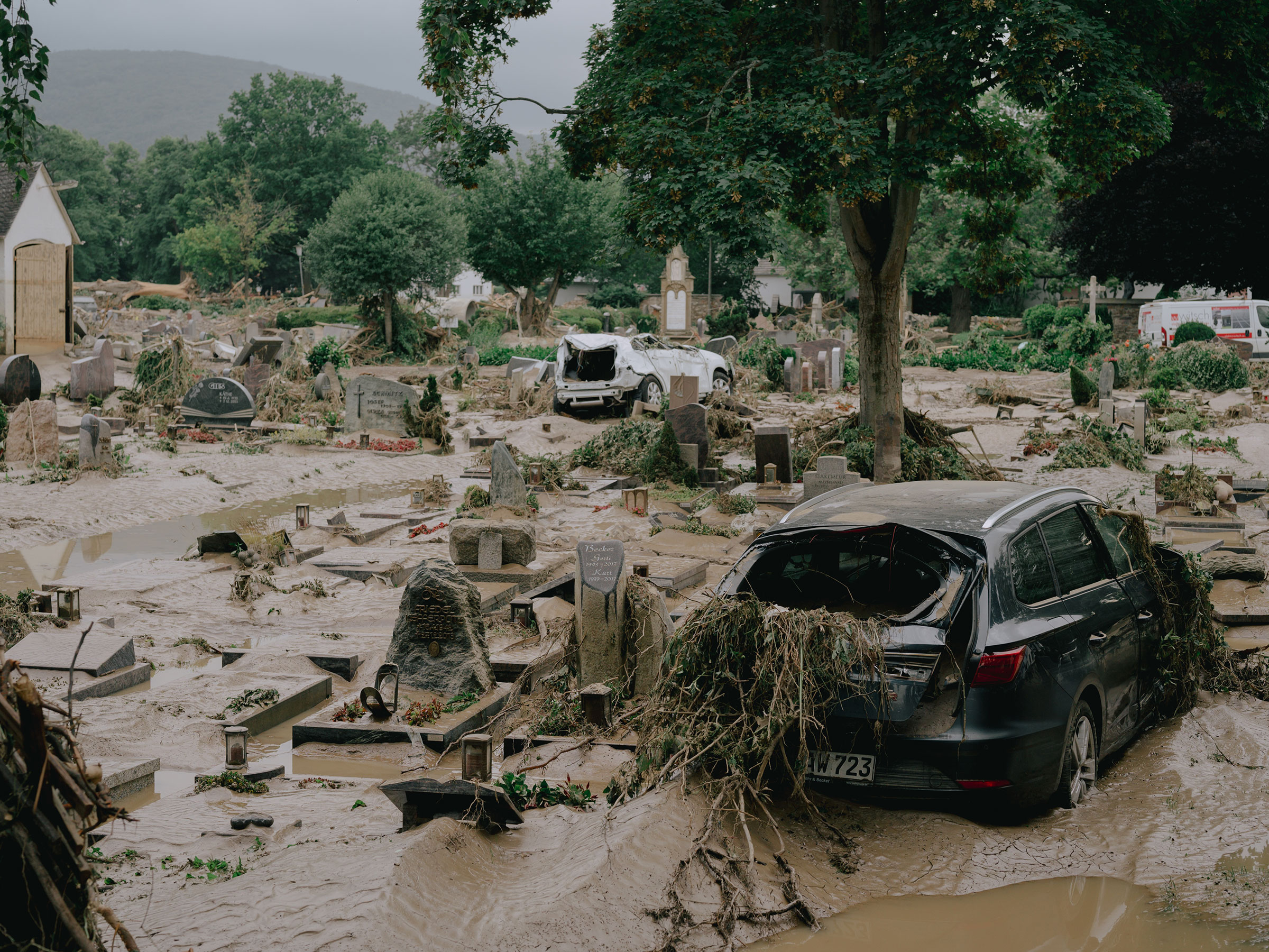 A flooded cemetery in Ahrweiler, Germany, on July 15.