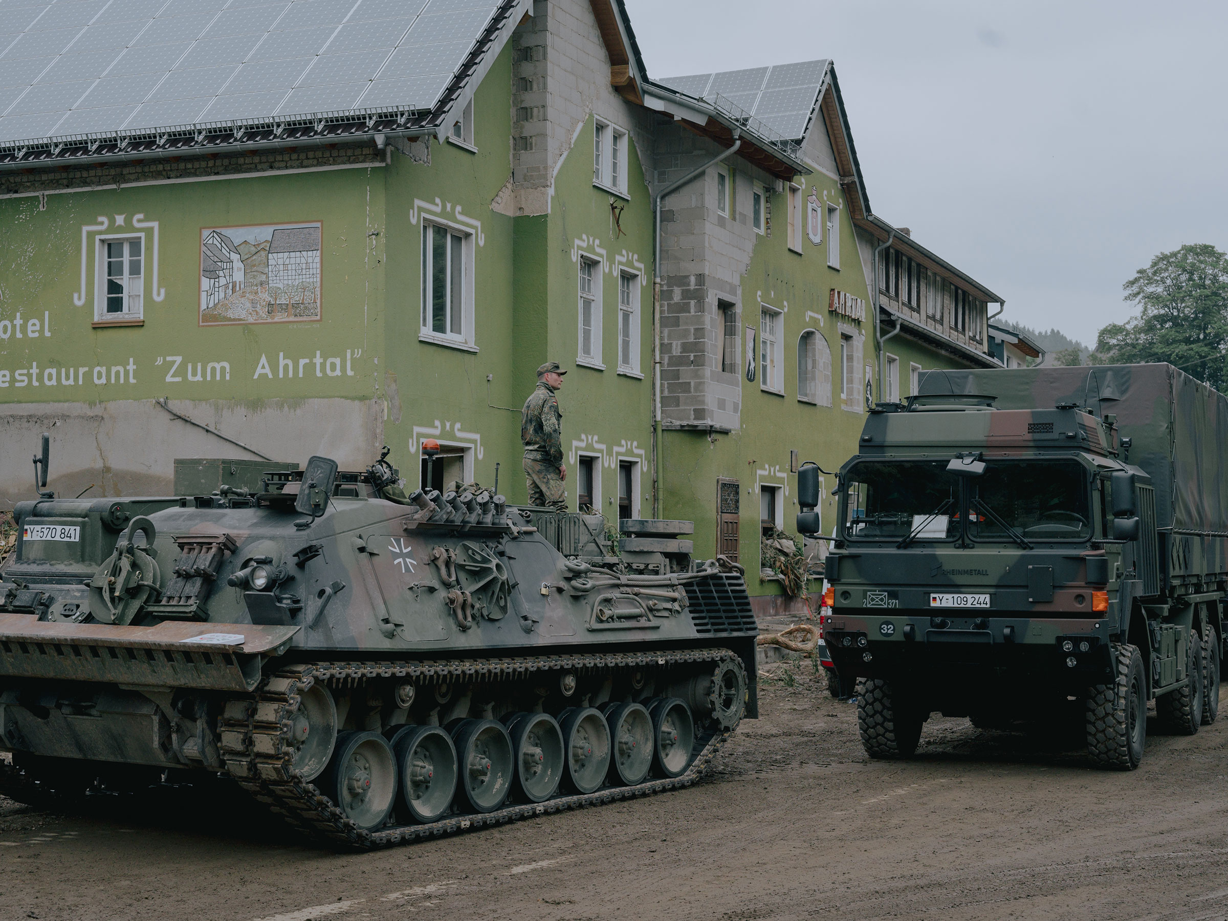 A military unit supports the clean-up efforts in the village of Schuld, Germany, on July 16.