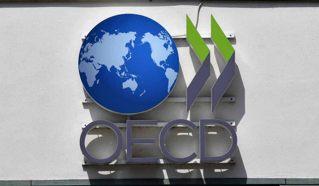 The logo of the OECD - Organisation for Economic Co-operation and Development - in Schumann-Strasse in Berlin,Germany, on May 31, 2016.