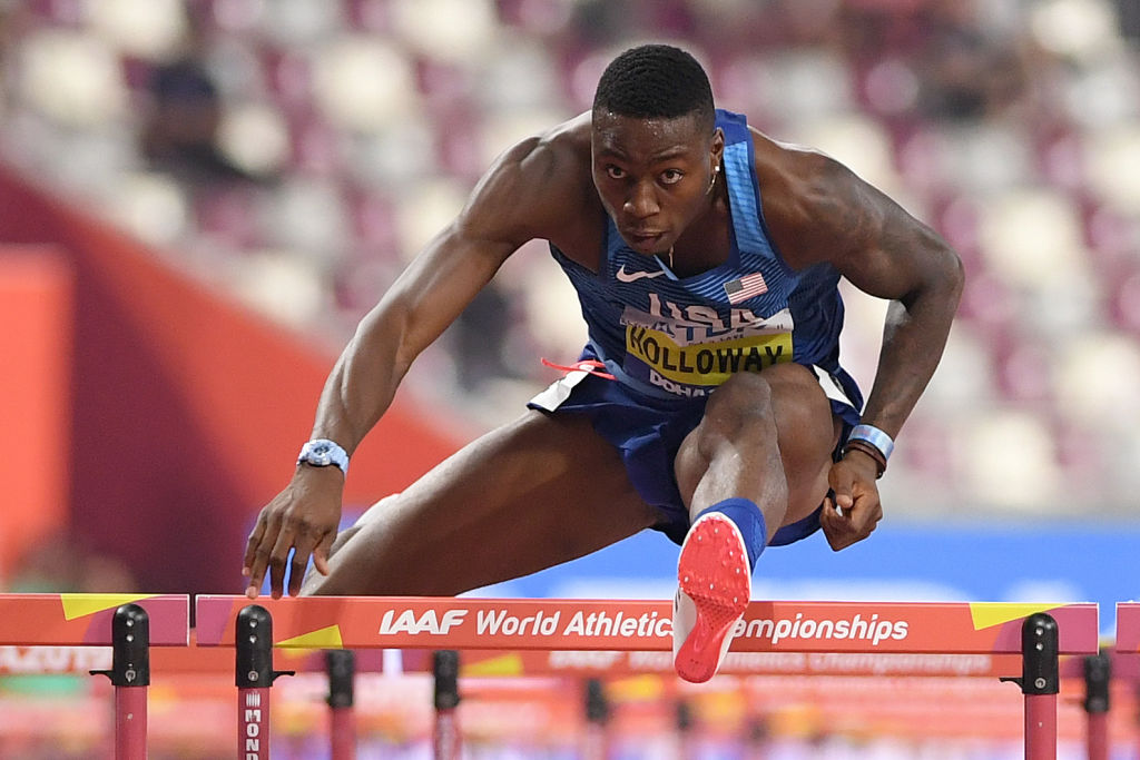 Grant Holloway of the Team USA competes in the Men's 110-m hurdles final during day six of 17th IAAF World Athletics Championships Doha 2019 at Khalifa International Stadium on October 02, 2019 in Doha, Qatar.