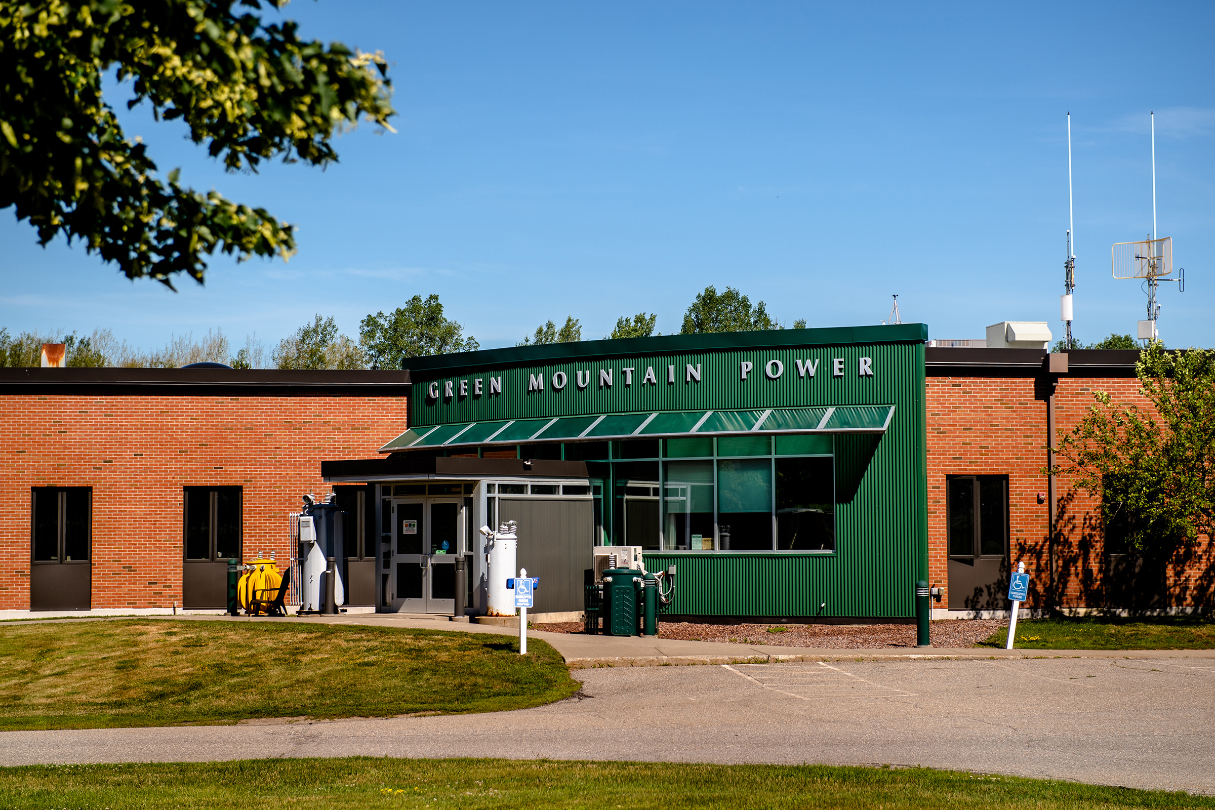 GMP's headquarters in Colchester, Vt. When activated this month, the Panton system will become the first U.S. utility-built community microgrid able to run on renewable energy without a fossil-fuel backup.