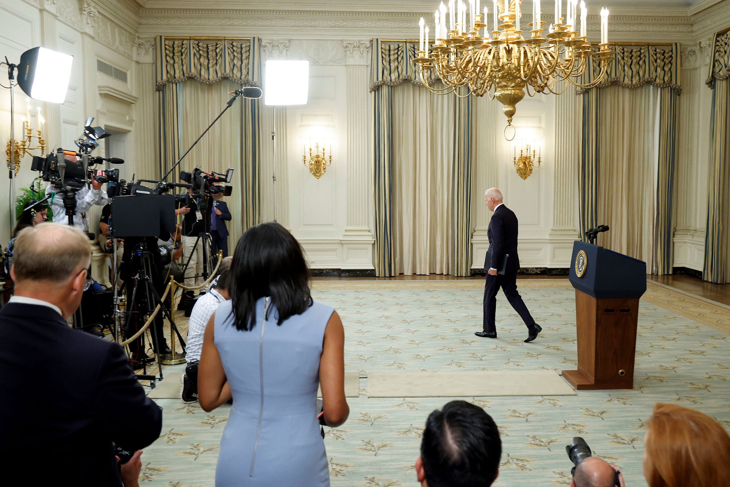 President Joe Biden departs after delivering remarks on the economy at the White House in Washington, on July 19, 2021.