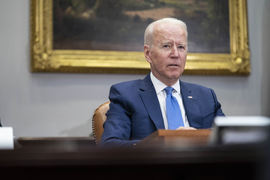 U.S. President Joe Biden speaks during a meeting in the Roosevelt Room of the White House in Washington, D.C. on Monday, July 12, 2021.