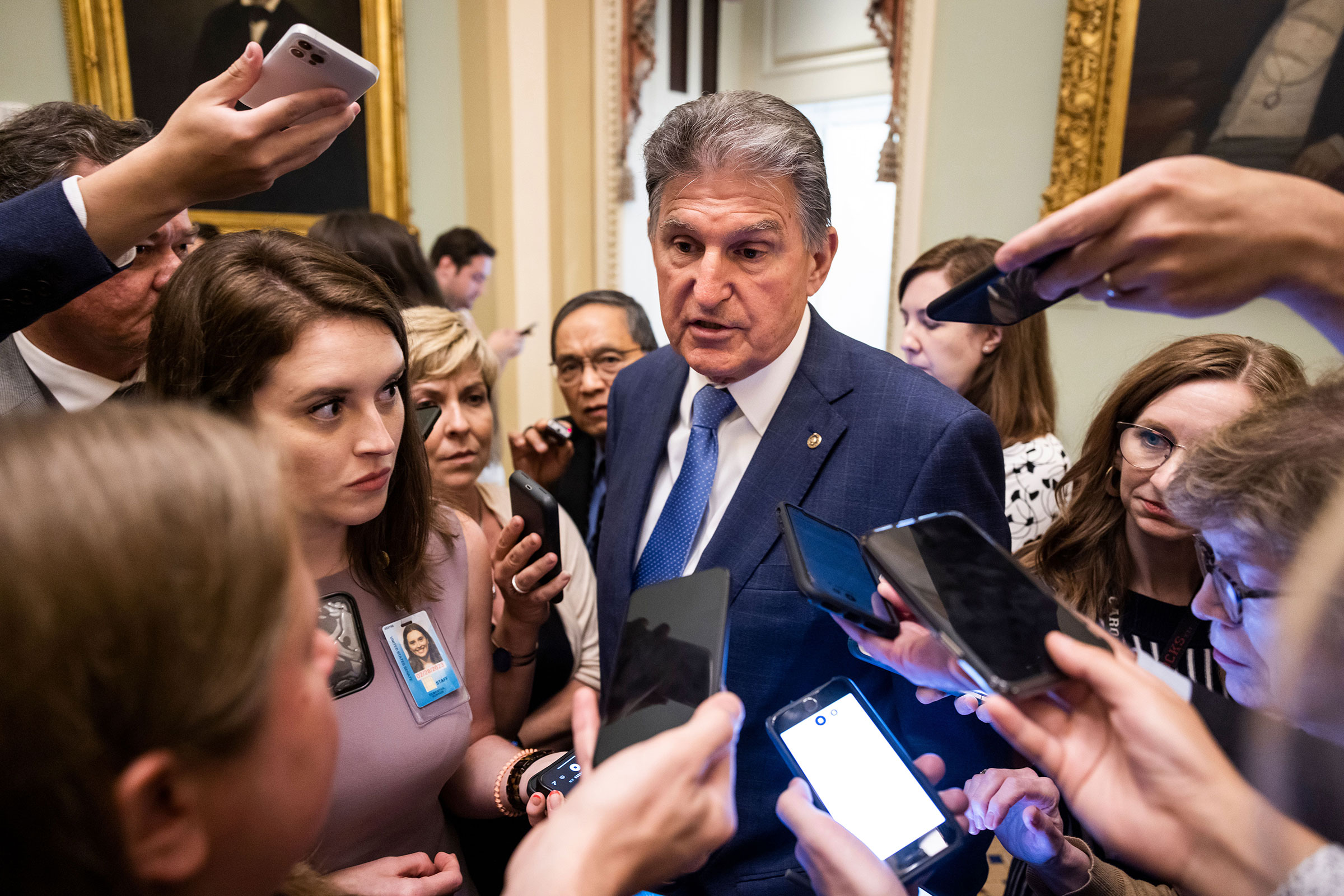 Democratic Senator from West Virginia Joe Manchin speaks to reporters after President Joe Biden met with lawmakers seeking their support for his two-bill approach to infrastructure spending in the Capitol in Washington, on July 14, 2021.