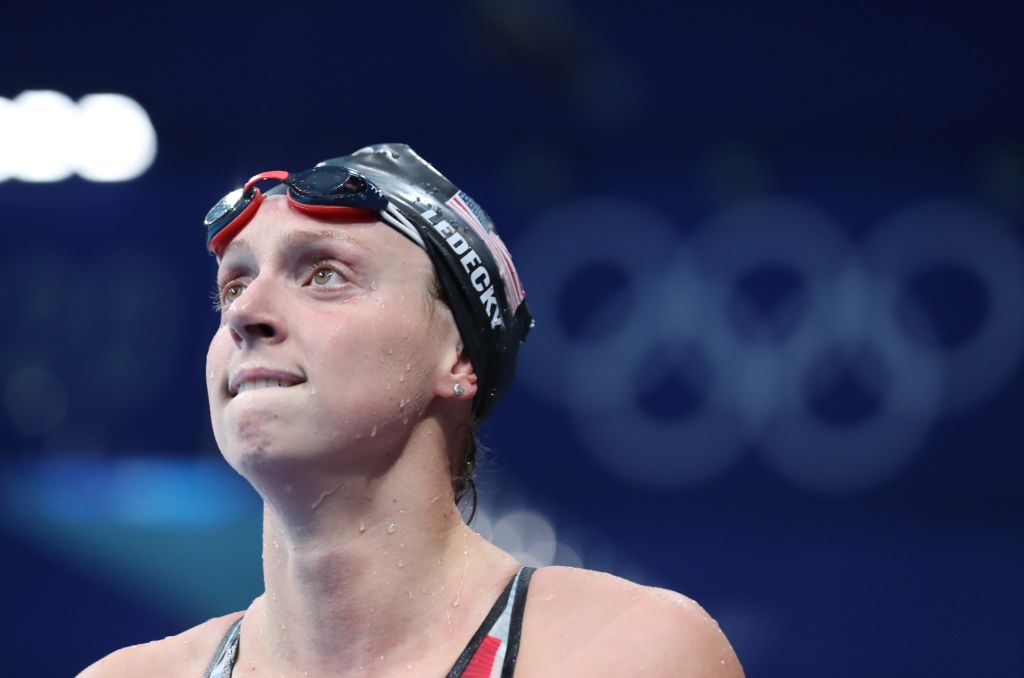 Katie Ledecky of Team USA reacts after the women's 1,500-m freestyle final at the Tokyo 2020 Olympic Games in Tokyo, Japan, July 28, 2021.