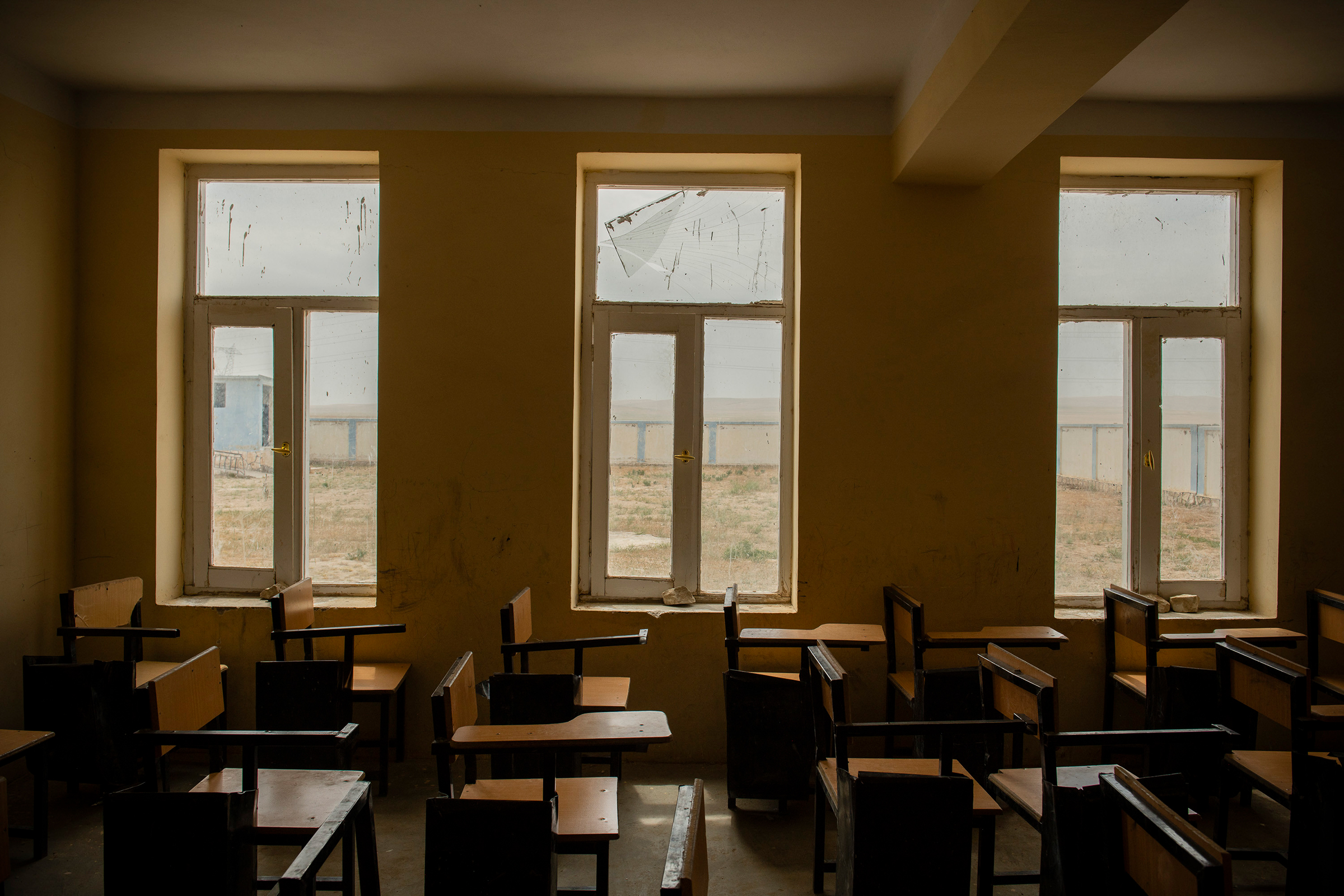 A school that was damaged during a battle between Afghan government forces and the Taliban just outside Sheberghan, northern Afghanistan, on May 4, 2021.