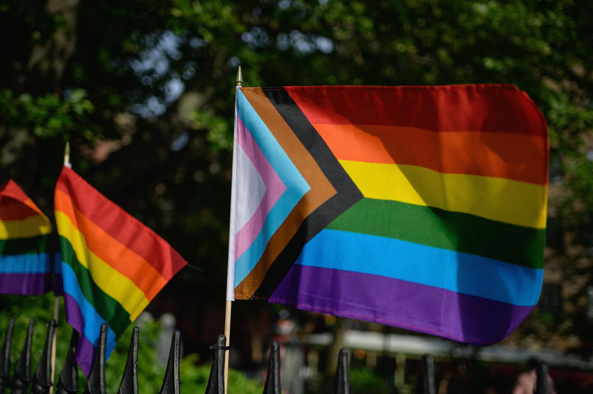 A Progress Pride flag alongside rainbow flags are seen at the Stonewall National Monument, the first US national monument dedicated to LGBTQ history and rights, on June 1, 2020 in New York City.