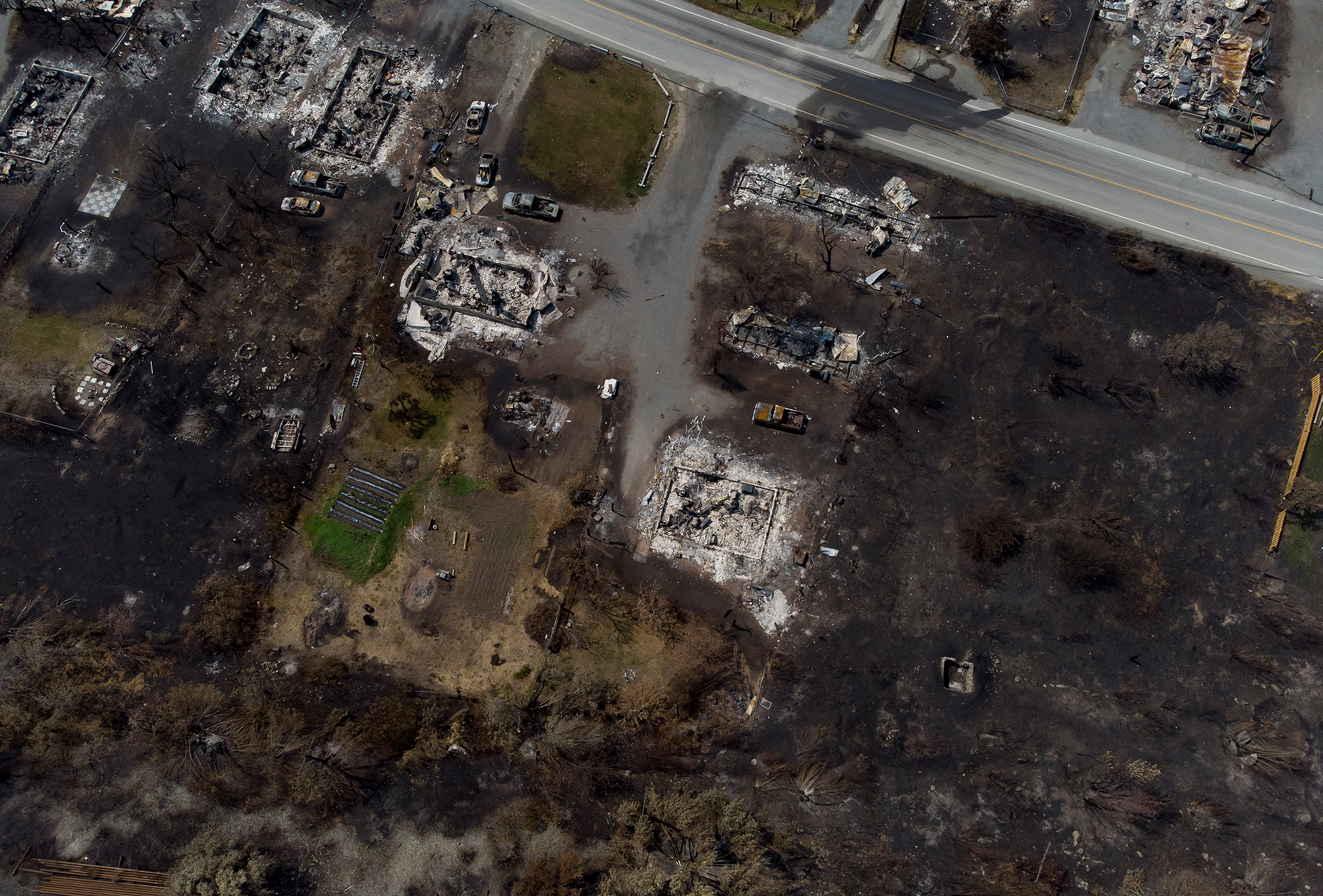 Damaged structures are seen in Lytton, British Columbia, on July 9, 2021, after a wildfire destroyed most of the village on June 30.