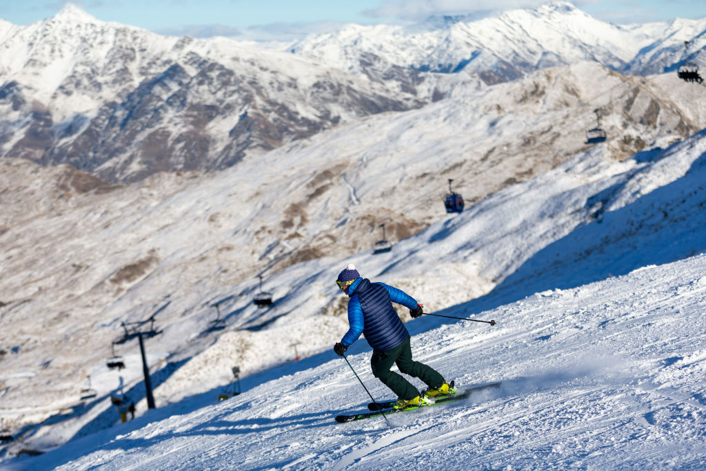 Skiers at Coronet Peak on June 30, 2021 in Queenstown, New Zealand.