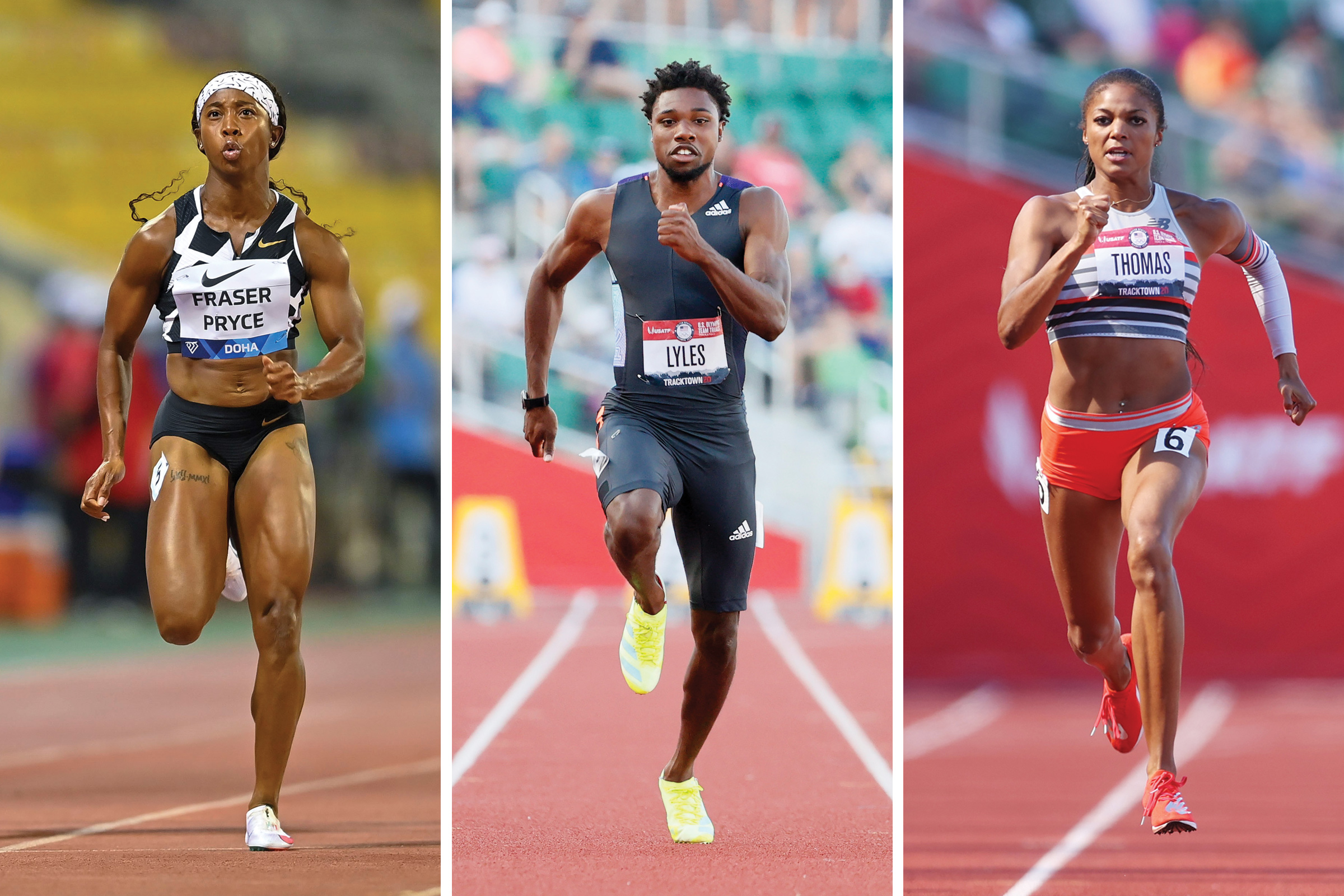 From left, Shelly-Ann Fraser-Pryce, Noah Lyles and Gabby Thomas will be competing in the Tokyo Olympics track events.