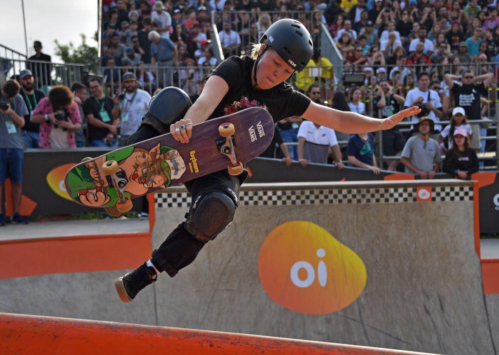 Australian skateboarder Poppy Starr Olsen competes in the finals of the World Park Skateboarding Championships in Sao Paulo on September 14, 2019.
