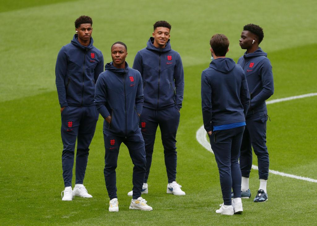 Marcus Rashford (far left), Raheem Sterling, Jadon Sancho and Bukayo Saka (far right), at Wembley Stadium on June 29, 2021 in London, England.