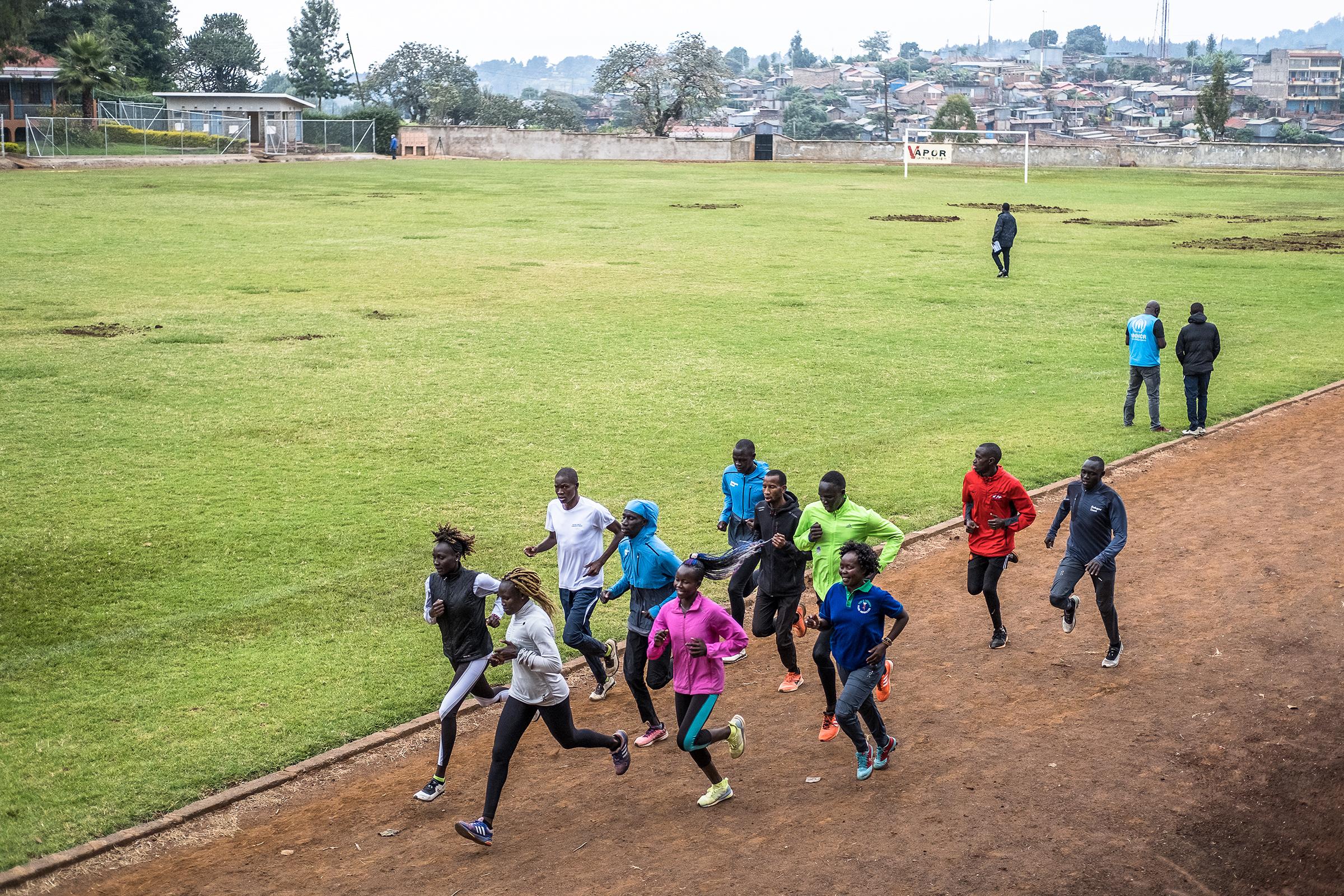 Refugee athletes run laps at the training camp in Ngong, Kenya.