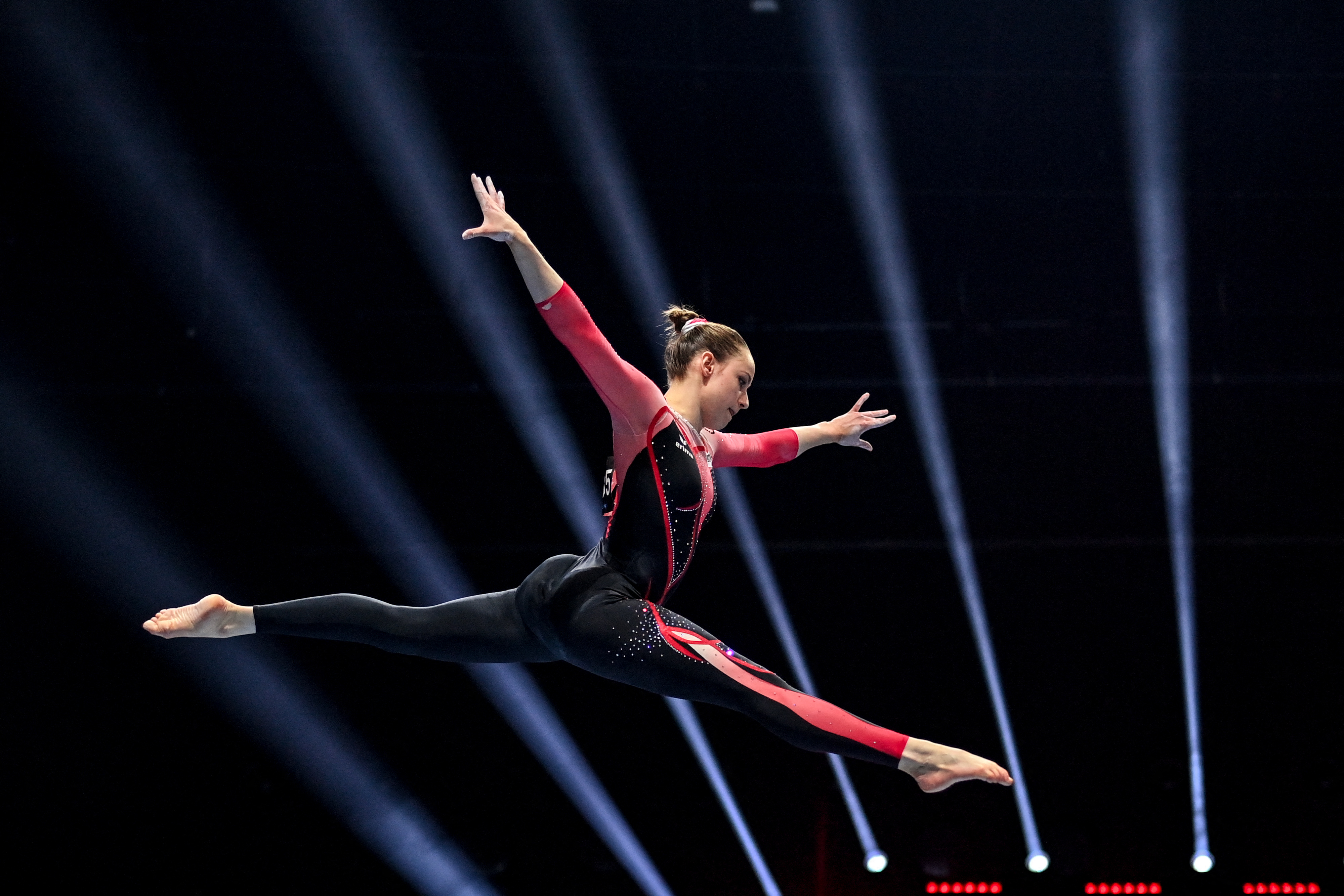 Germany's Sarah Voss competes in the Women's beam qualifications during European Artistic Gymnastics Championships at the St Jakobshalle, in Basel, on April 21, 2021.