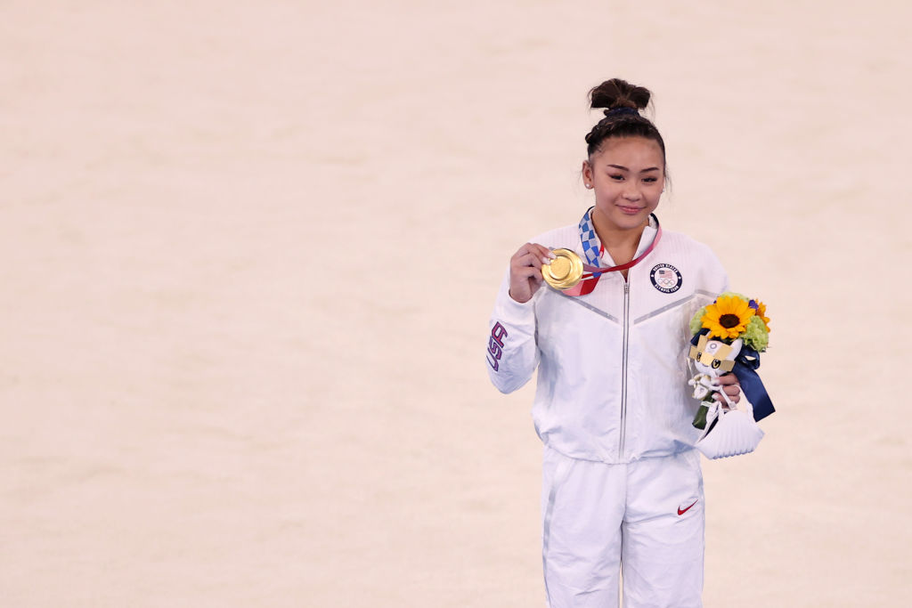 Sunisa Lee of Team USA poses with her gold medal after winning the Women's All-Around Final on day six of the Tokyo 2020 Olympic Games at Ariake Gymnastics Centre on July 29, 2021 in Tokyo, Japan.