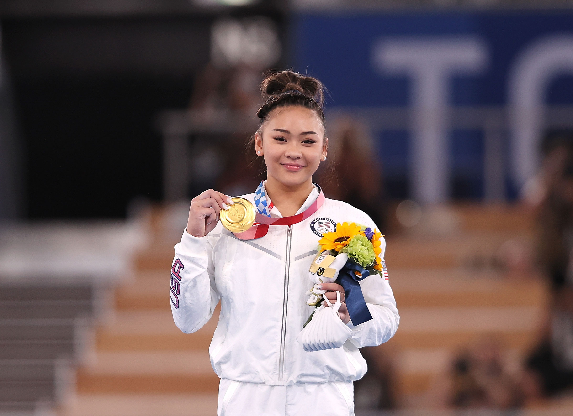 Sunisa Lee of the United States poses during the awards ceremony after the artistic gymnastics women's all-around final in Tokyo, Japan, July 29, 2021.