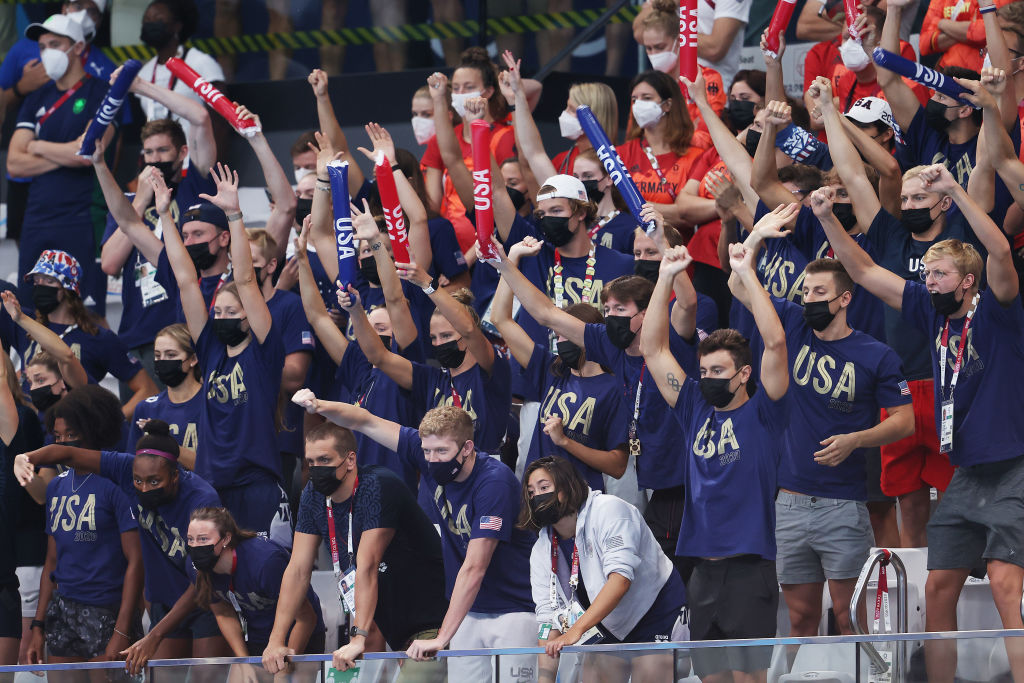 Team USA cheers during day nine of the Tokyo 2020 Olympic Games at Tokyo Aquatics Centre on August 01, 2021 in Tokyo, Japan.