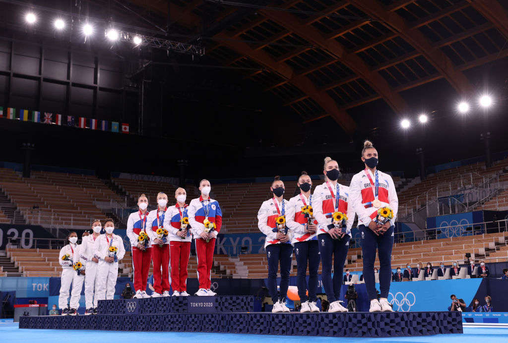 Team USA with Silver, Team ROC with Gold and Great Britain with Bronze during the medal ceremony in the Women's Team Final on day four of the Tokyo 2020 Olympic Games at Ariake Gymnastics Centre on July 27, 2021 in Tokyo, Japan.