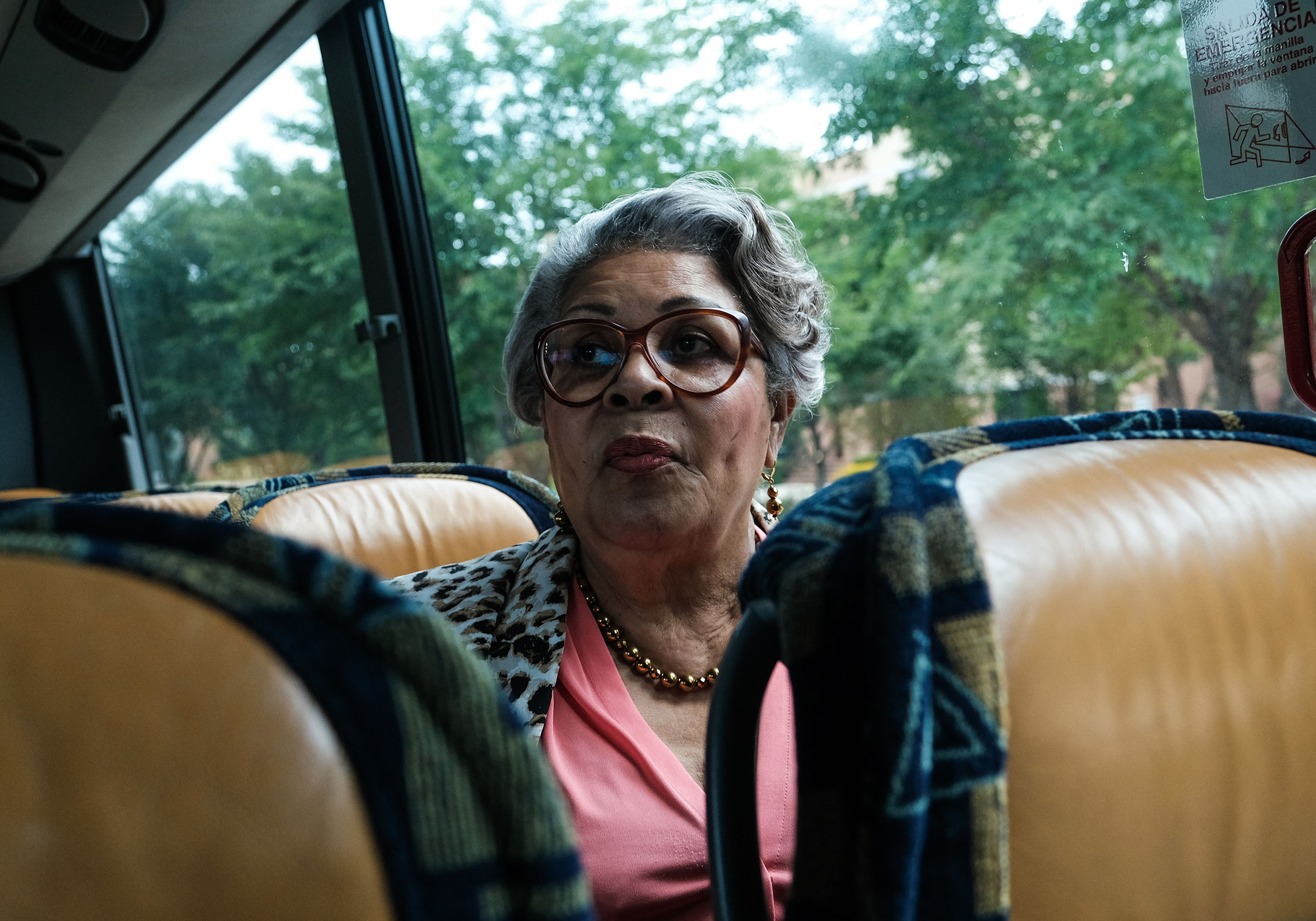 Rep. Thompson on a bus during an interview with a journalist in Washington, D.C., on July 16.