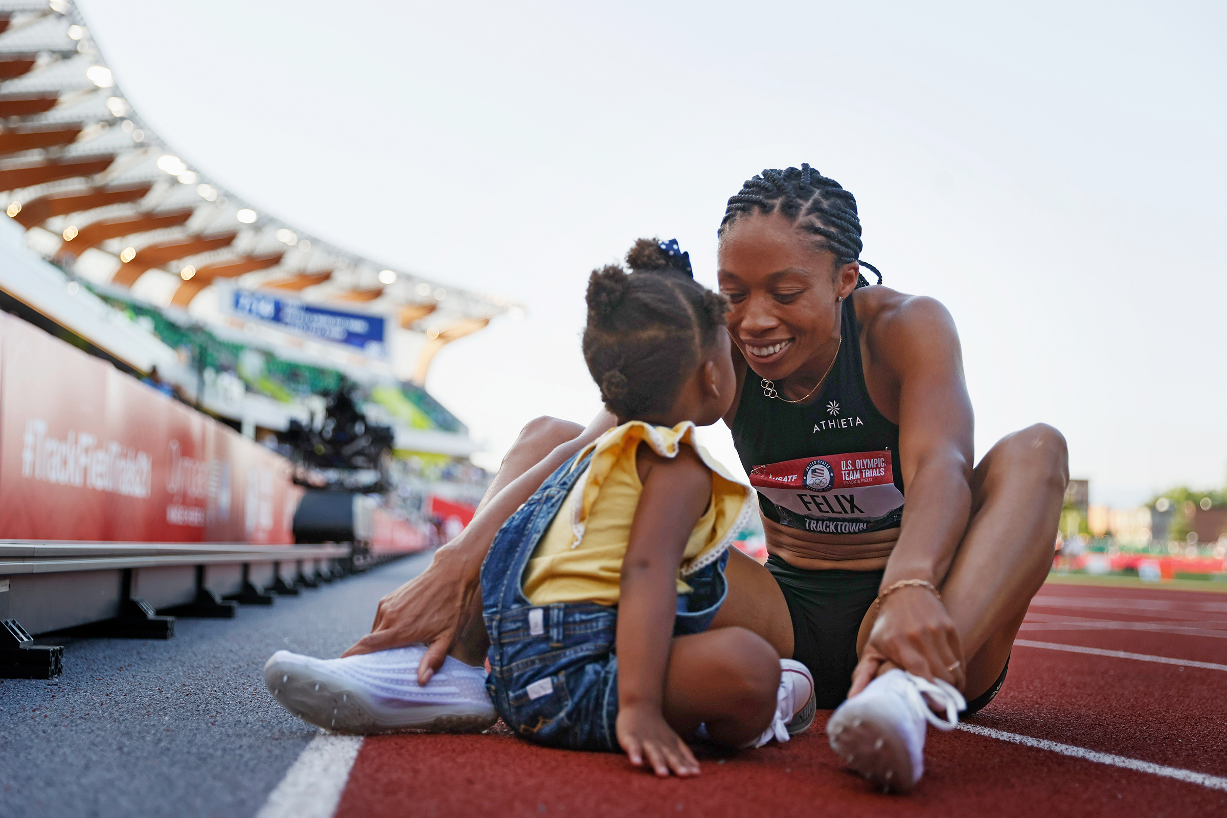 Felix with daughter Camryn at the U.S. track-and-field trials