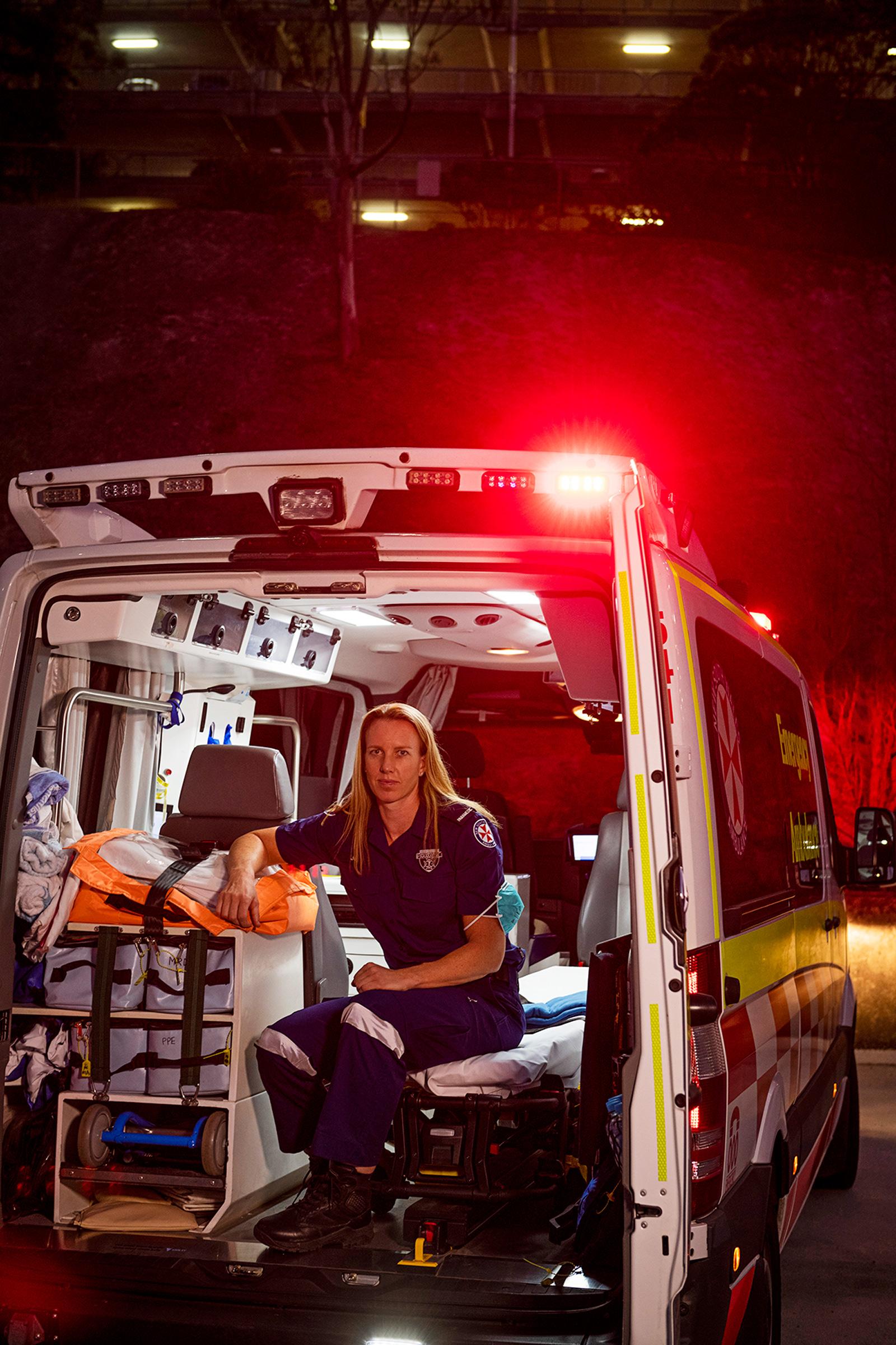 Paramedic Brigden-Jones, photographed during the pandemic