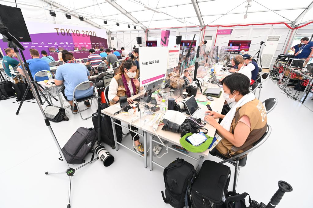 Media Workroom for journalists and photographers with social distancing to comply with COVID19 countermeasures during the Tokyo 2020 Summer Olympic Games on July 23, 2021 in Tokyo, Japan.