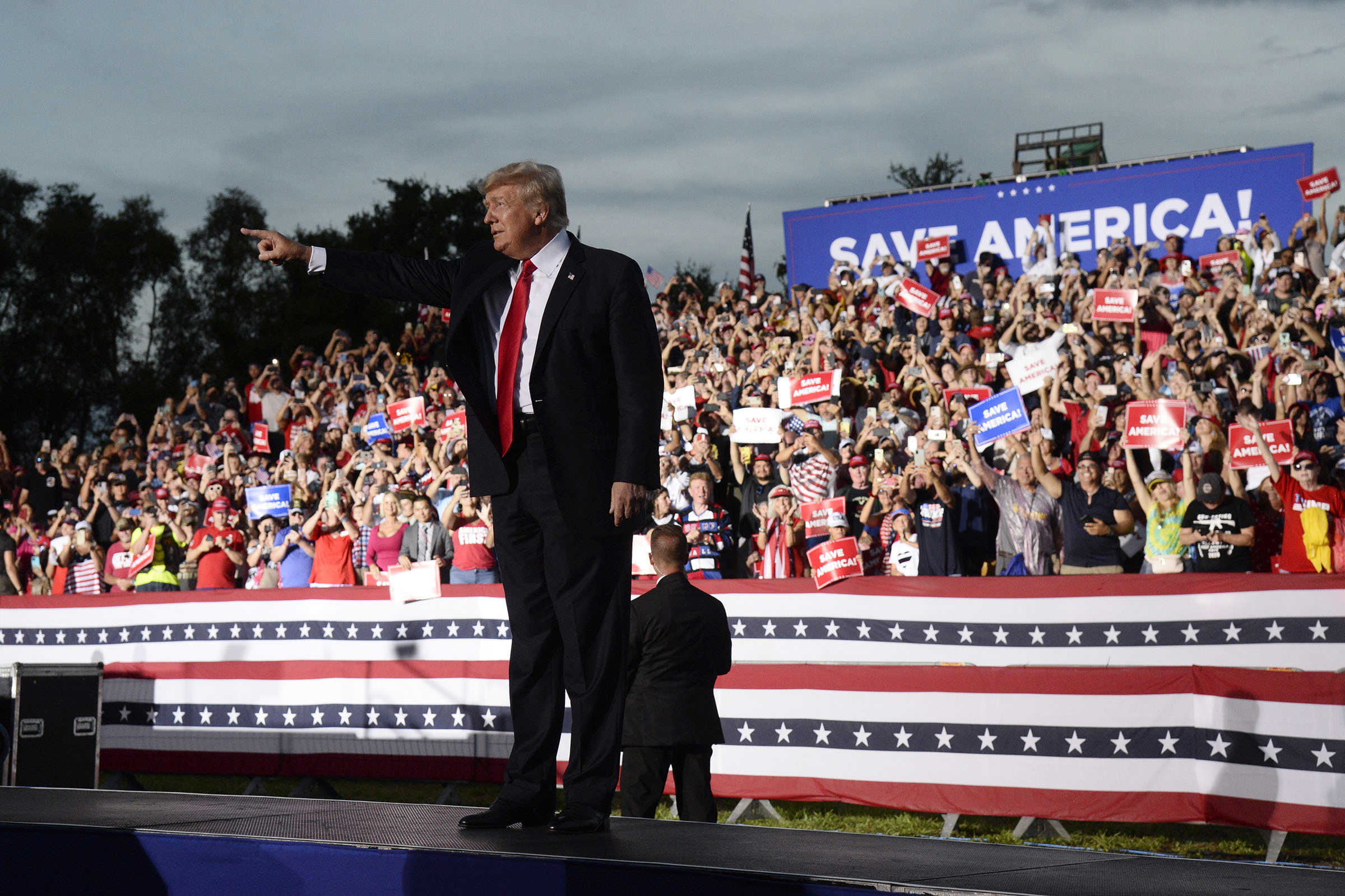 Former President Donald Trump walks on stage during a rally at the Sarasota Fairgrounds July 3, 2021, in Sarasota, Fla.